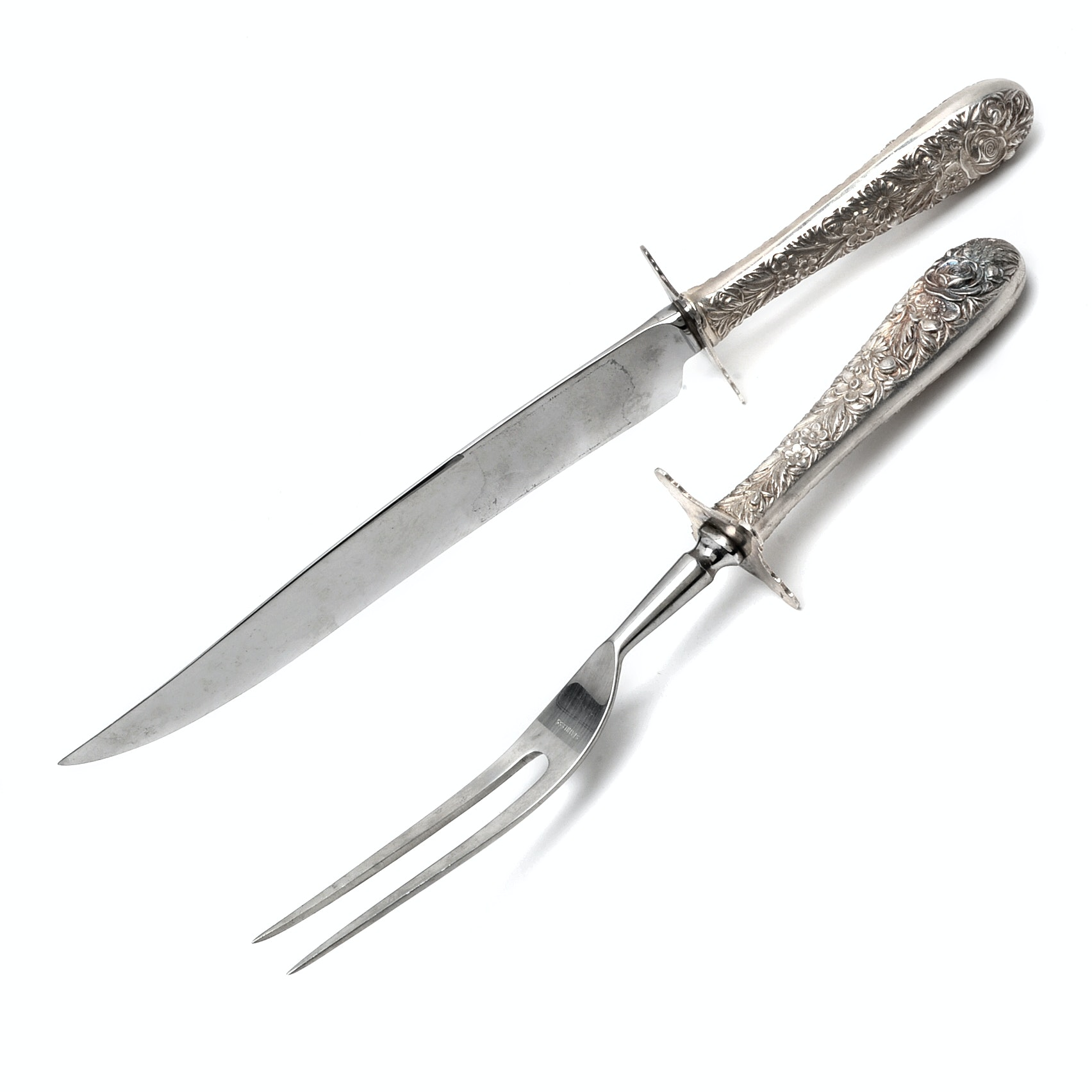 """S. Kirk & Sons """"Repoussé"""" Sterling Silver Handled Carving Set"""