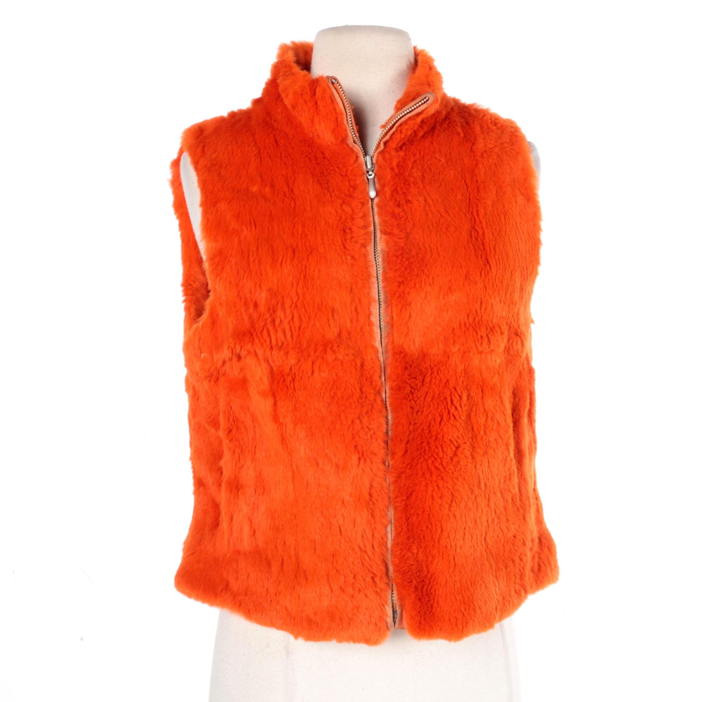 Bisou Bisou Orange Rabbit Fur Vest