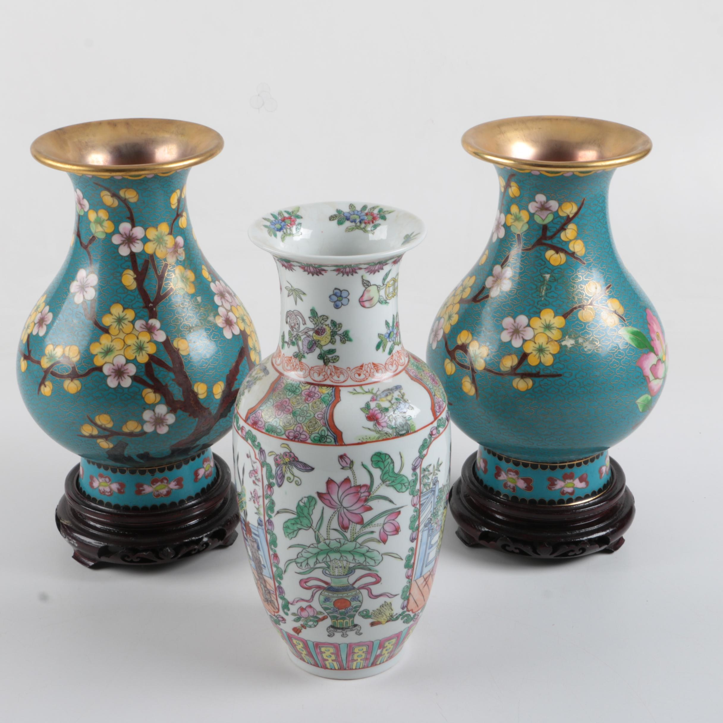 Pair of Cloisonné Vases and a Painted Figural Baluster Vase