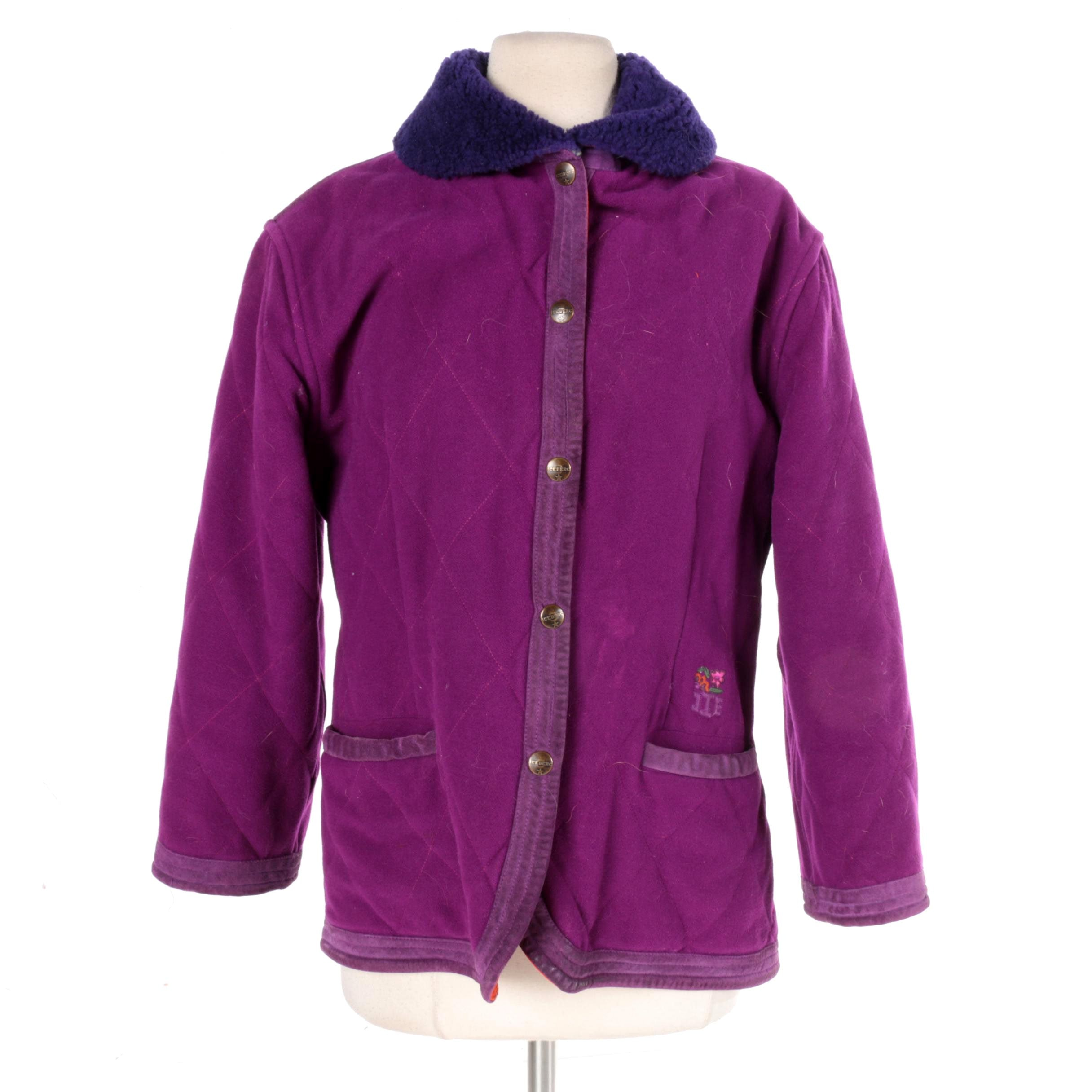 Women's Iceberg Purple Wool and Leather Jacket