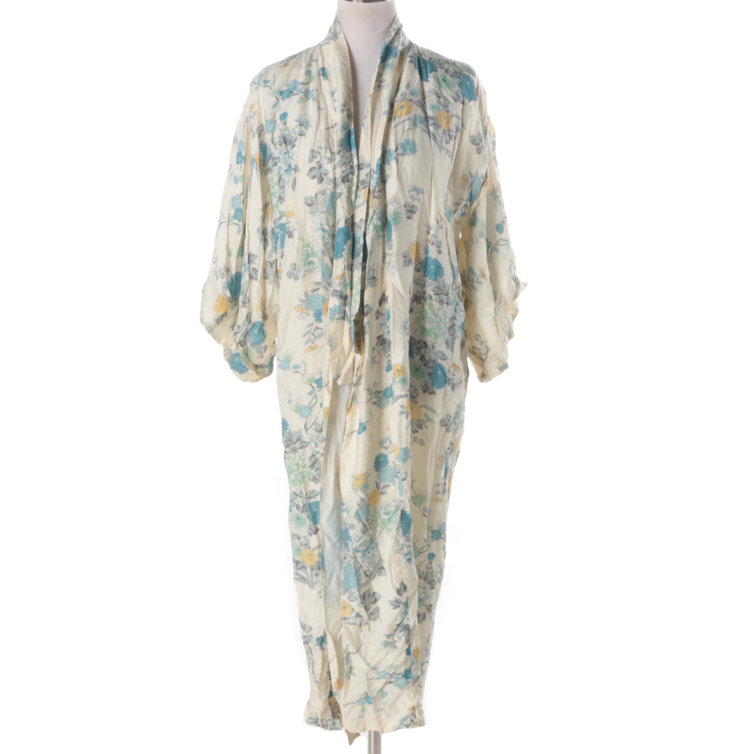 Vintage Japanese Silk Kimono Style Robe