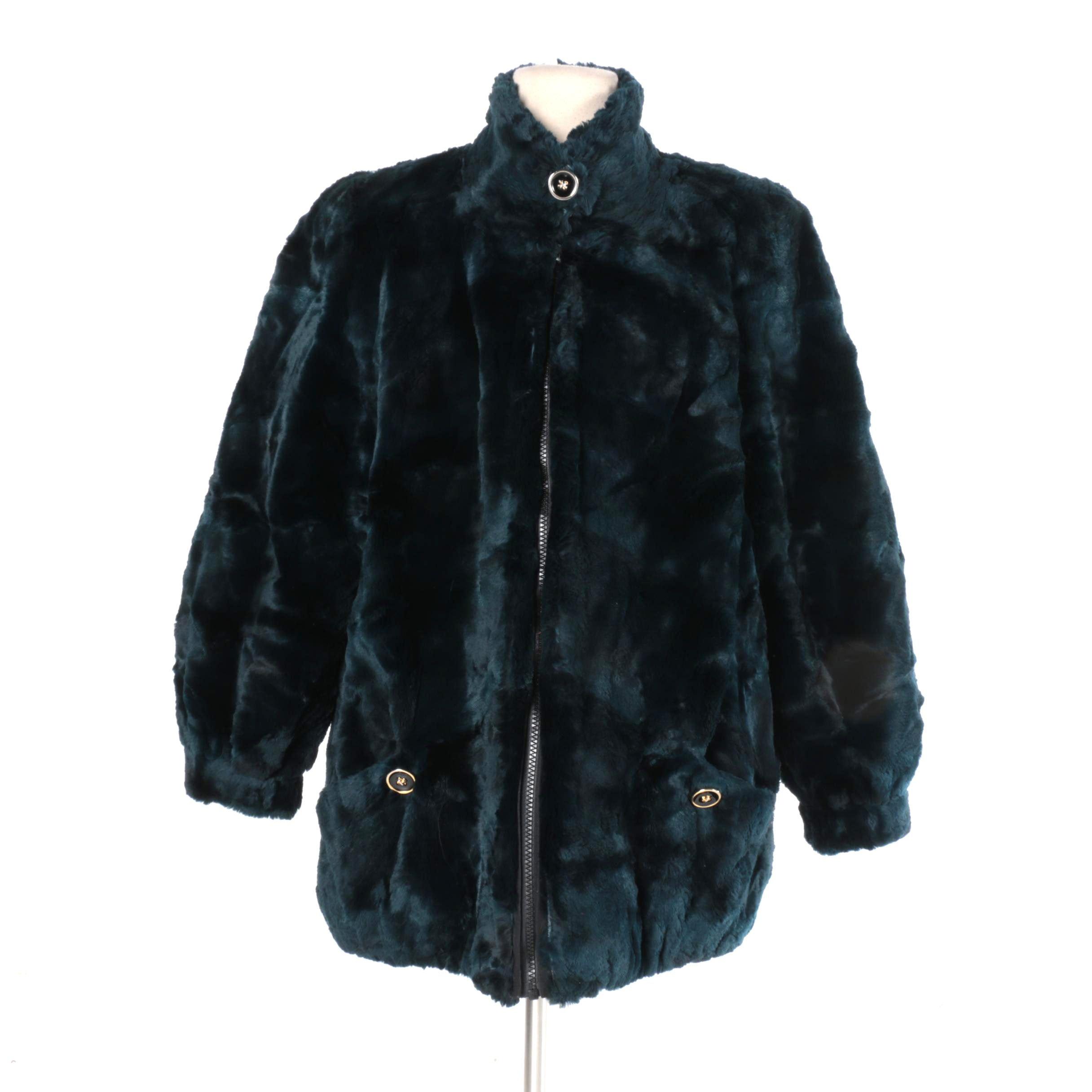 Blue Sheared Beaver Reversible Fur Coat