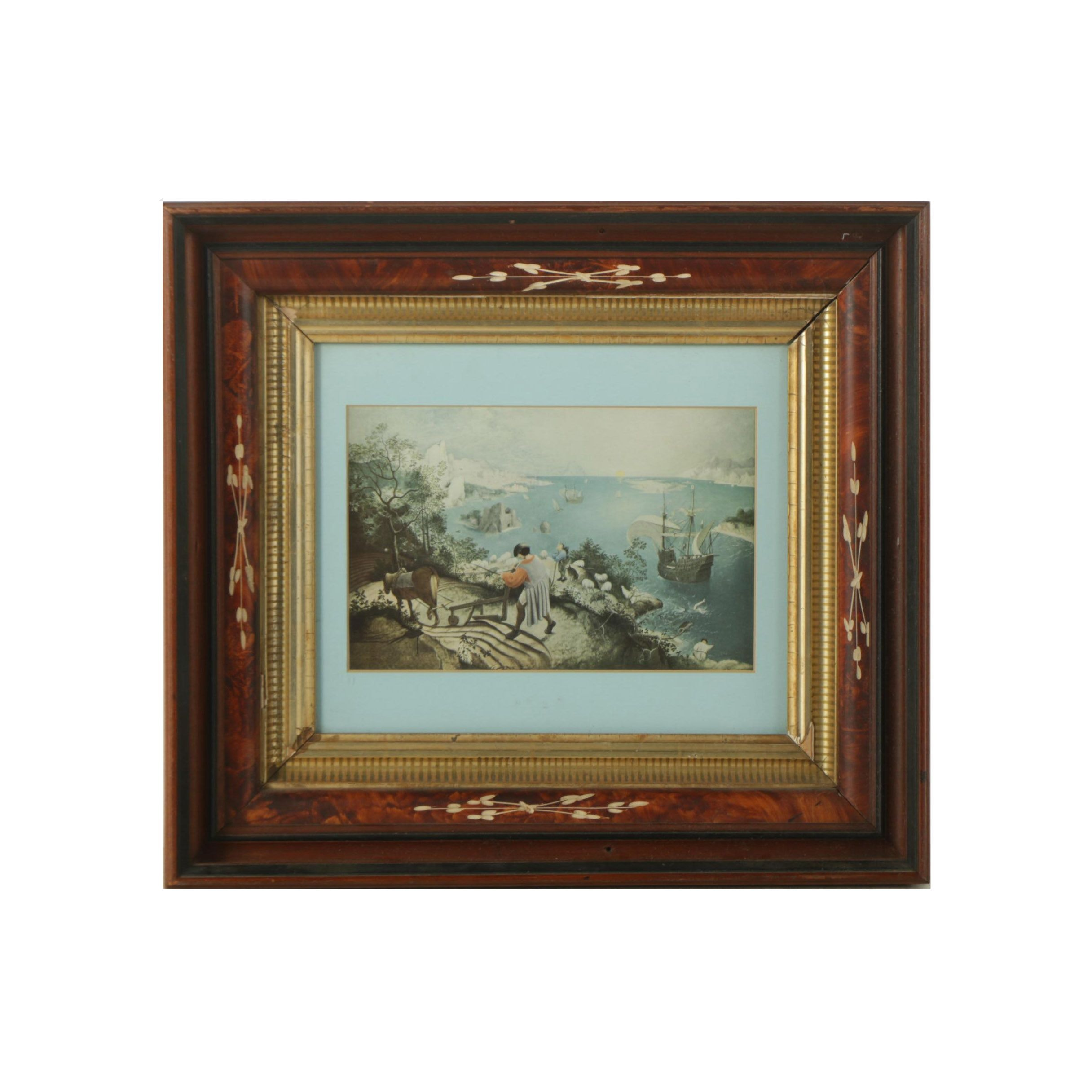 "Reproduction Print After Pieter Bruegel ""Landscape with the Fall of Icarus"""