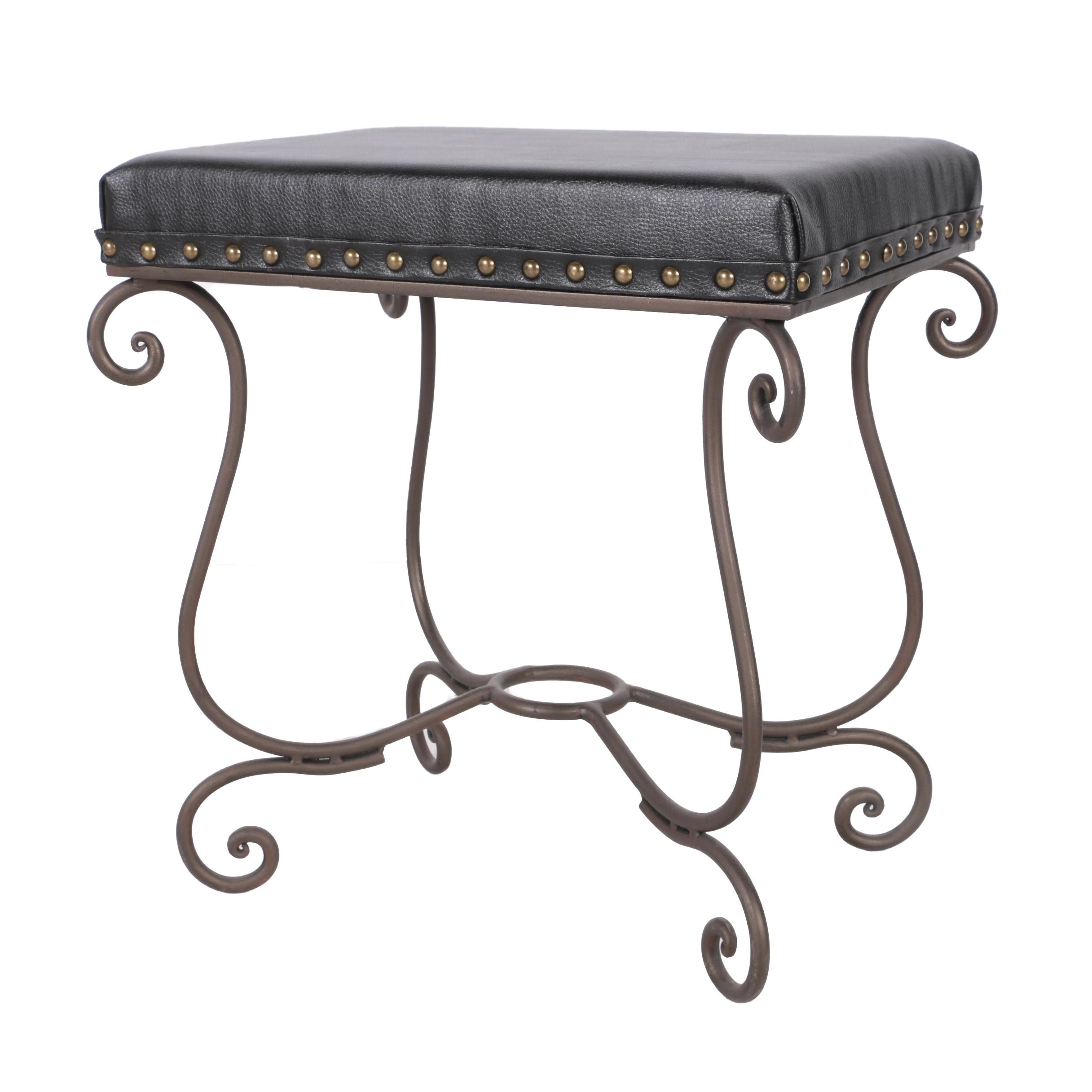 Neoclassical Style Leather Cushion Bench