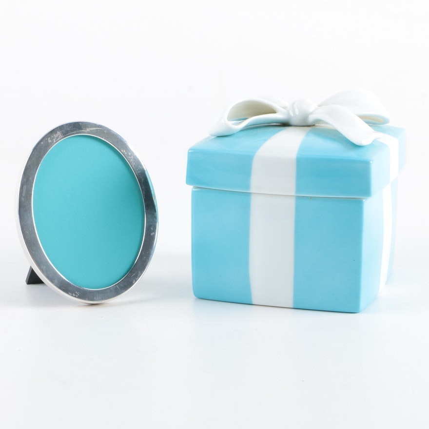 Tiffany & Co. Sterling Silver Picture Frame and Ceramic Trinket Box ...