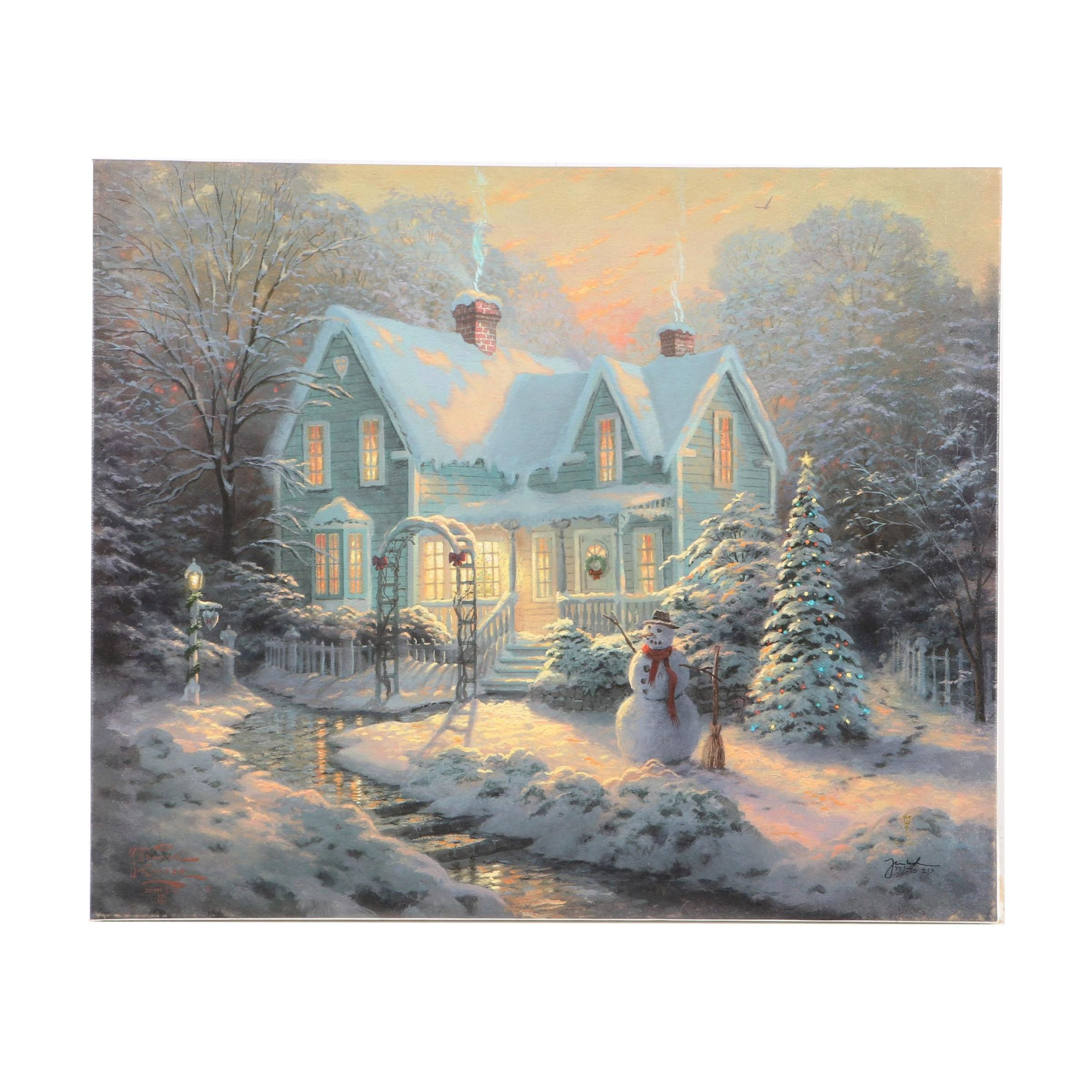 "Limited Edition Offset Lithograph After Kinkade's ""Blessings of Christmas"""