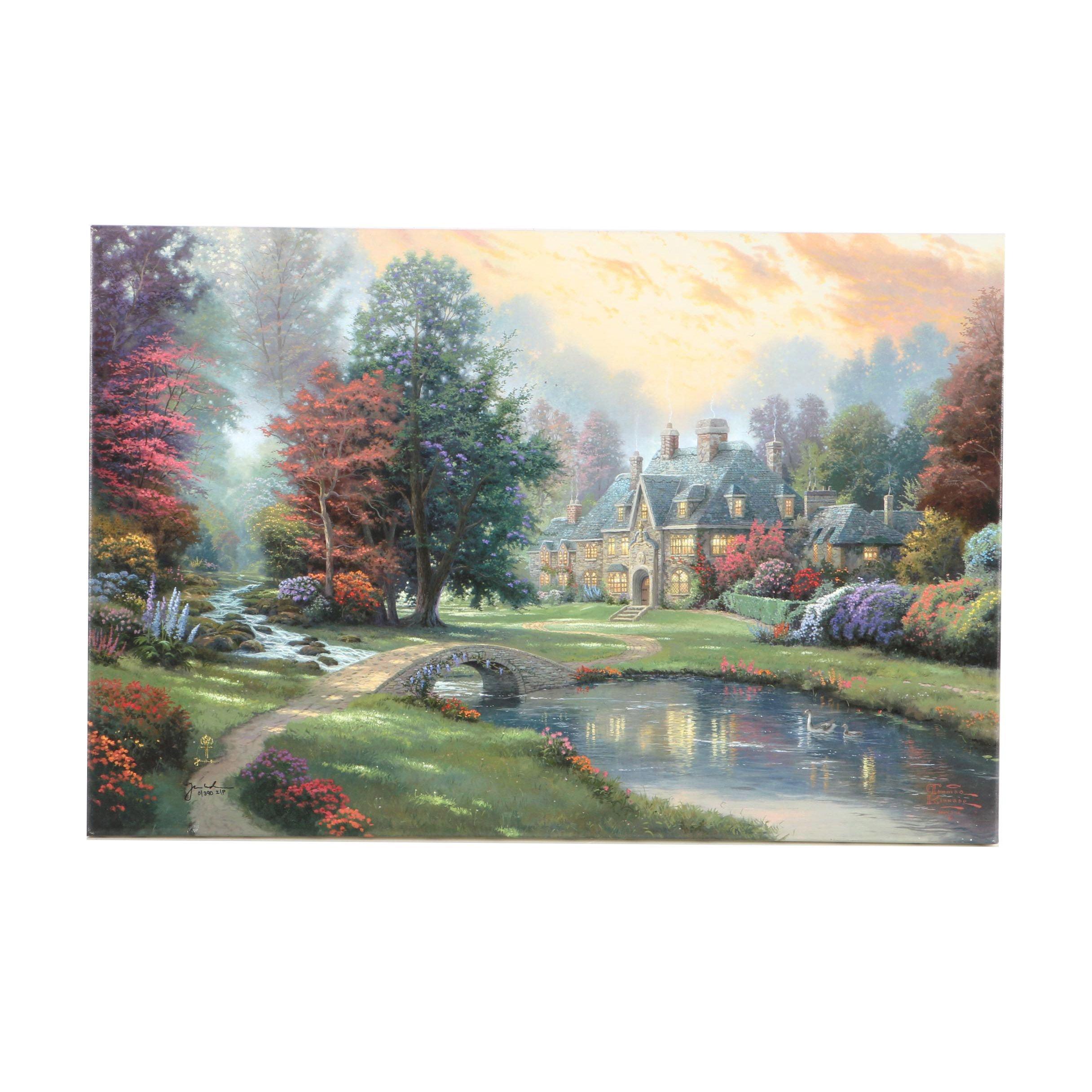 "Thomas Kinkade Limited Edition Giclee on Canvas ""Lakeside Manor"""