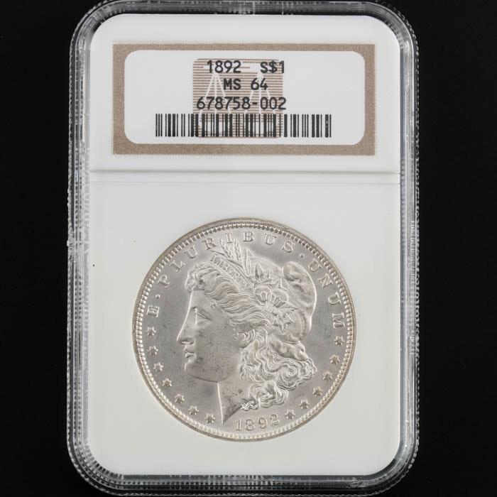 NGC Graded MS64 1892 Morgan Silver Dollar