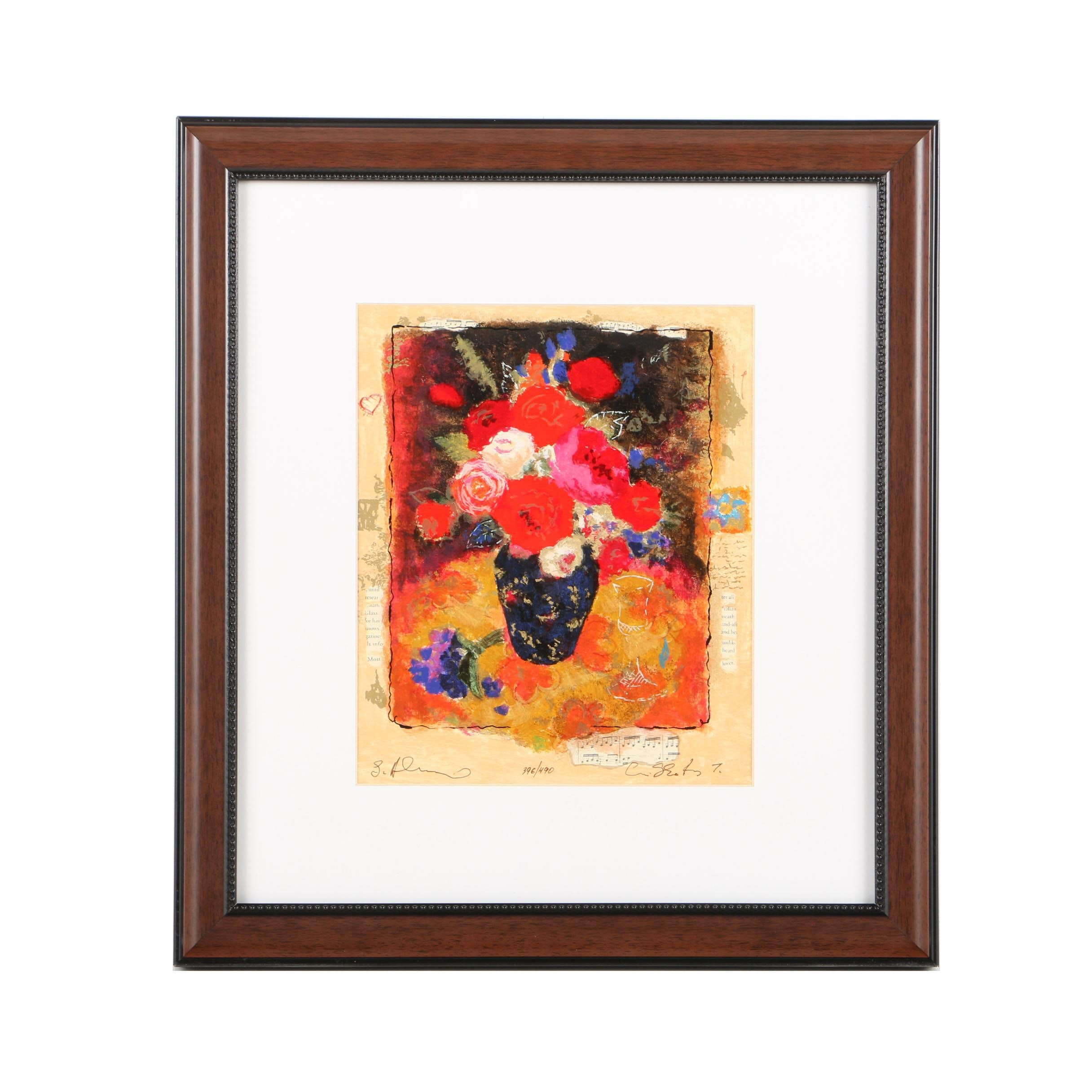 Limited Edition Serigraph on Paper Still Life of a Vase of Flowers