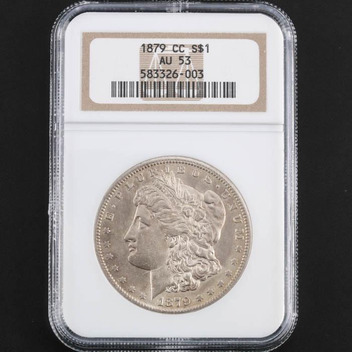NGC Graded AU53 1879 CC Morgan Silver Dollar
