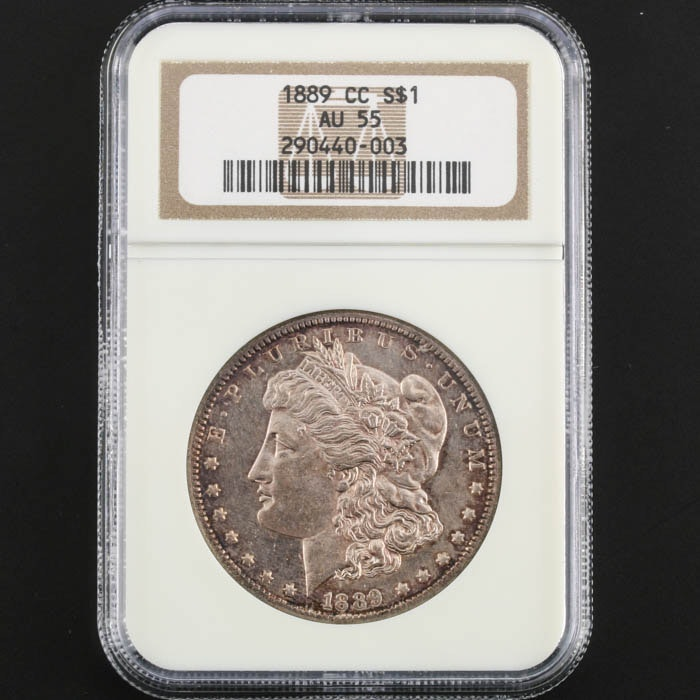 NGC Graded AU55 Key Date 1889 CC Morgan Silver Dollar