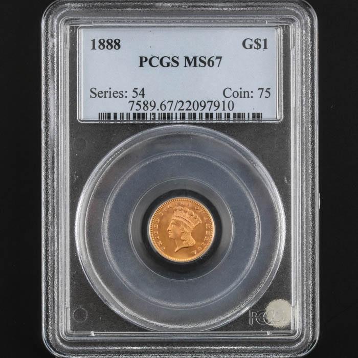 PCGS Graded MS67 1888 Indian Princess Head Gold Dollar