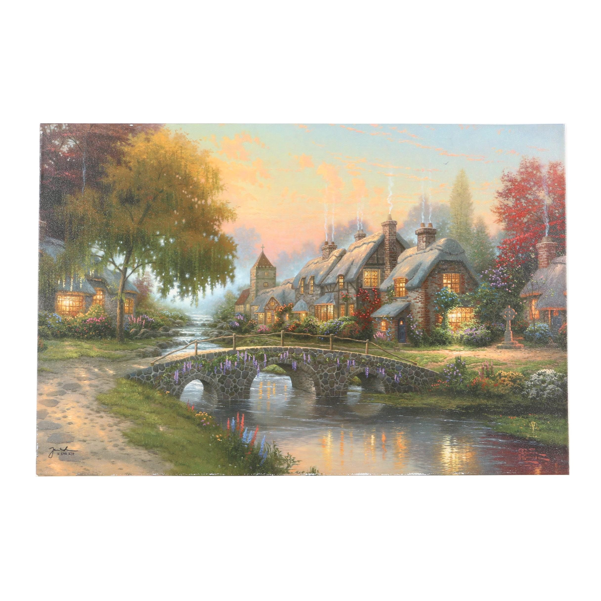 "Thomas Kinkade Limited Edition Offset Lithograph on Canvas ""Cobblestone Bridge"""