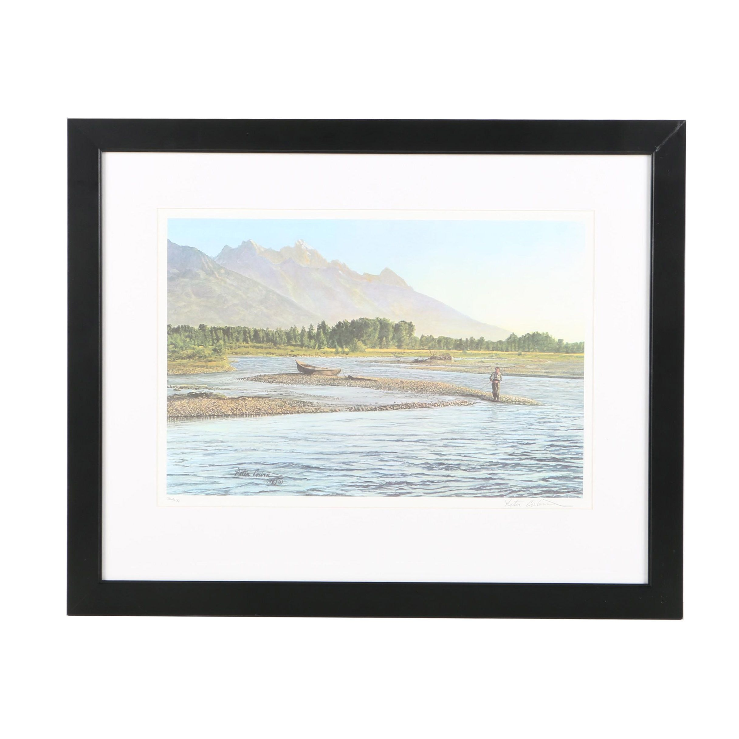 """Peter Corbin Limited Edition Offset Lithograph on Paper """"The Gravel Bar"""""""