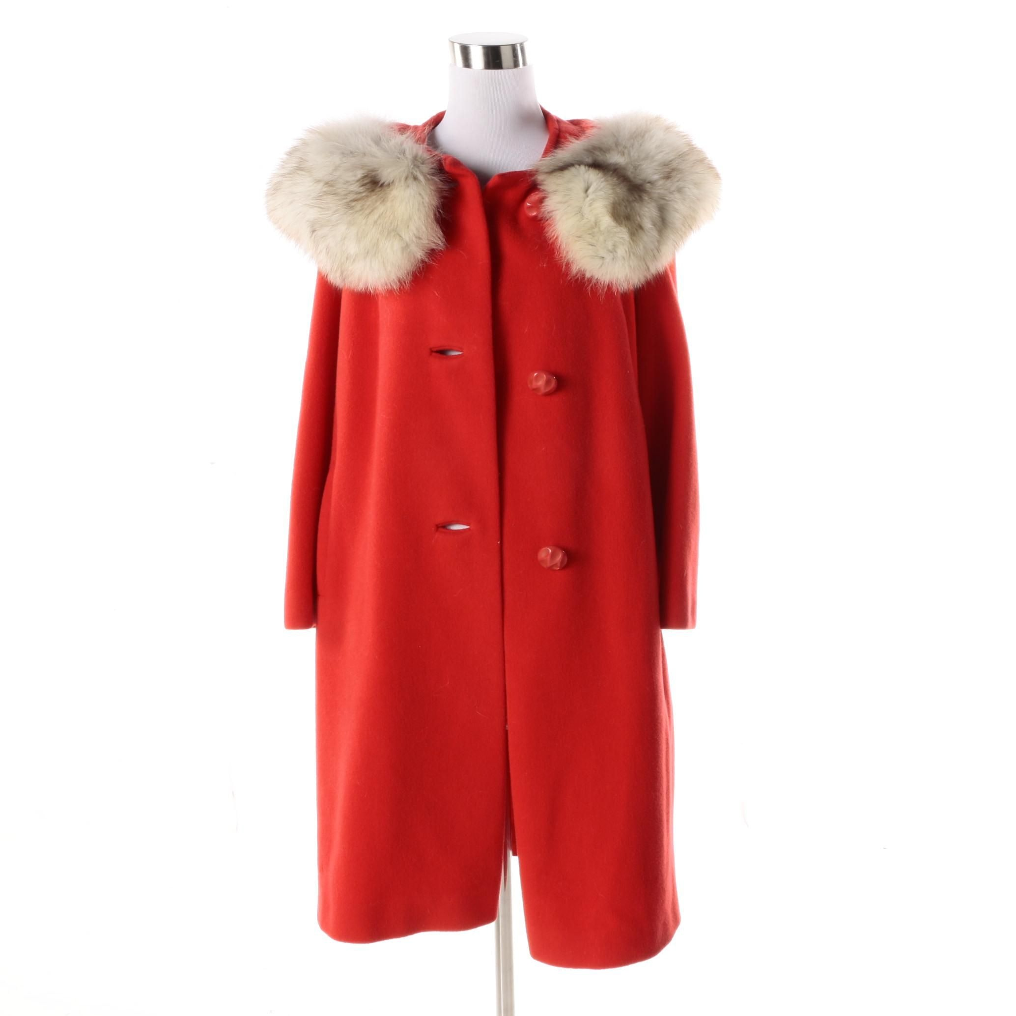 Women's Vintage Original Diane Red Wool Coat with Fox Fur Collar