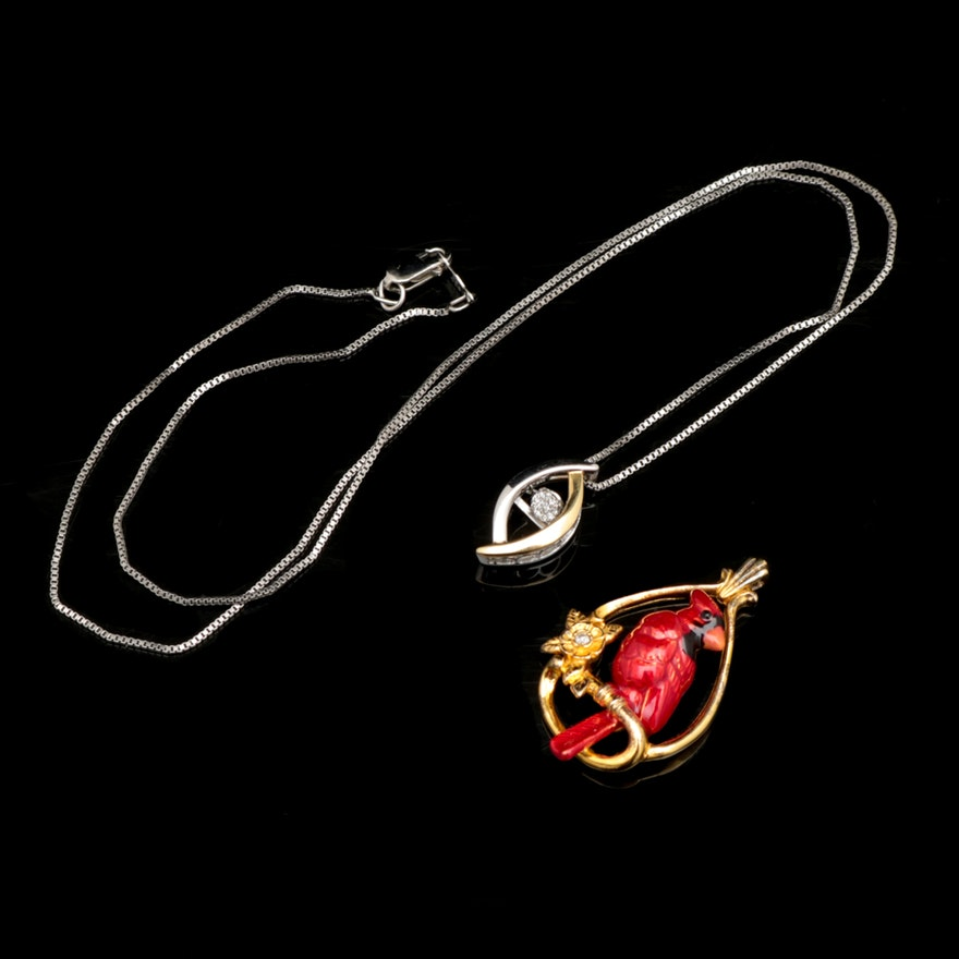 the met store audubon cardinal pendant necklace