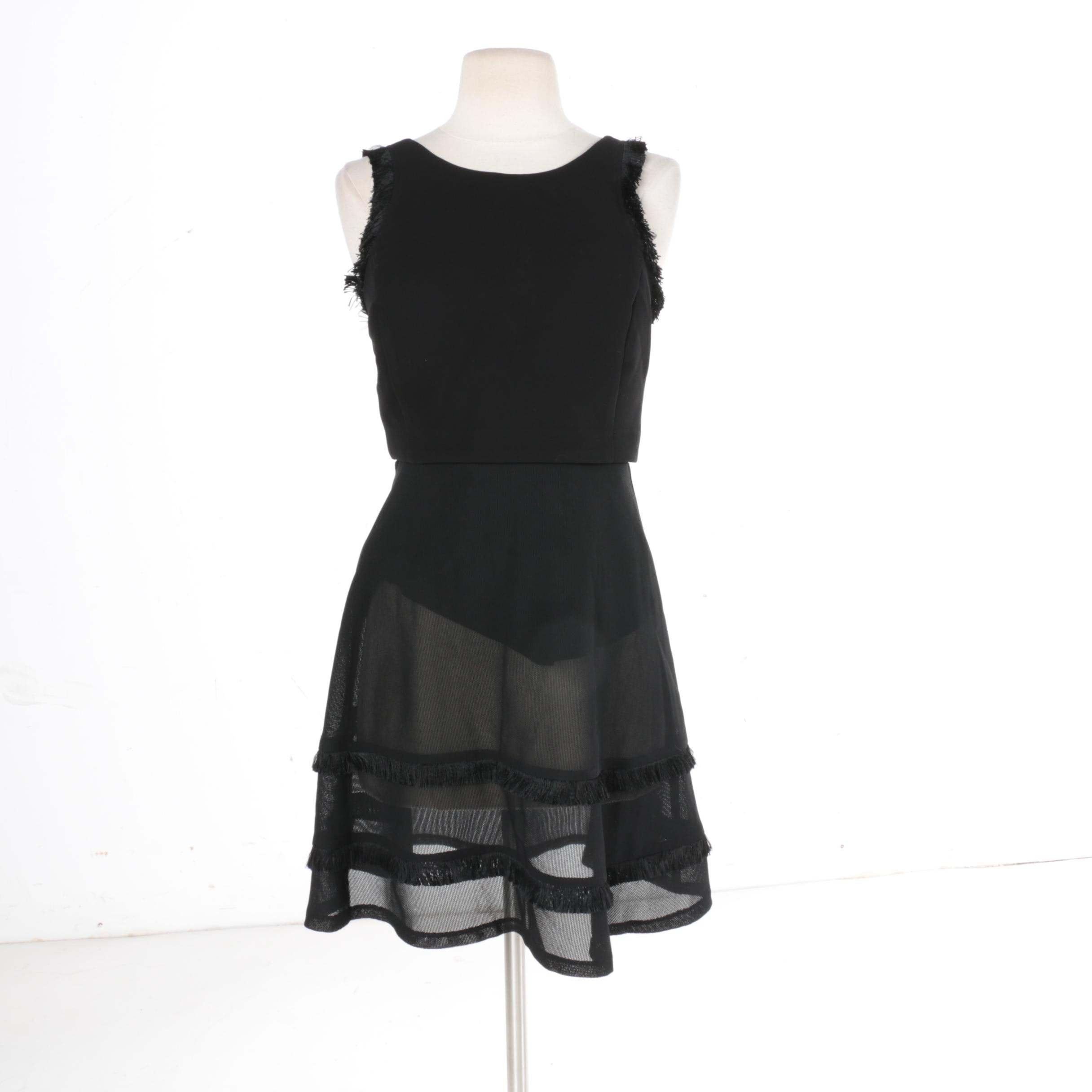 Sandro Black Fringed Dress