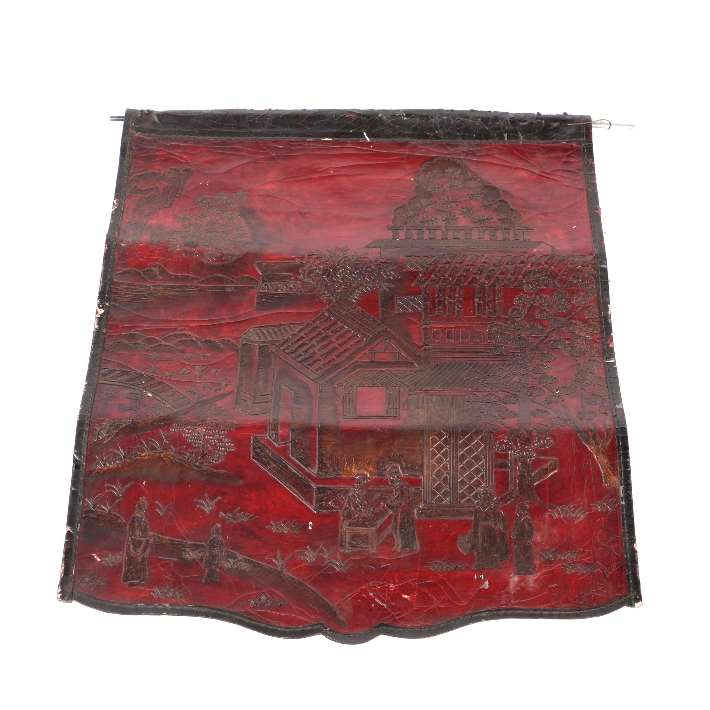 Chinese Embossed Leather Wall Hanging