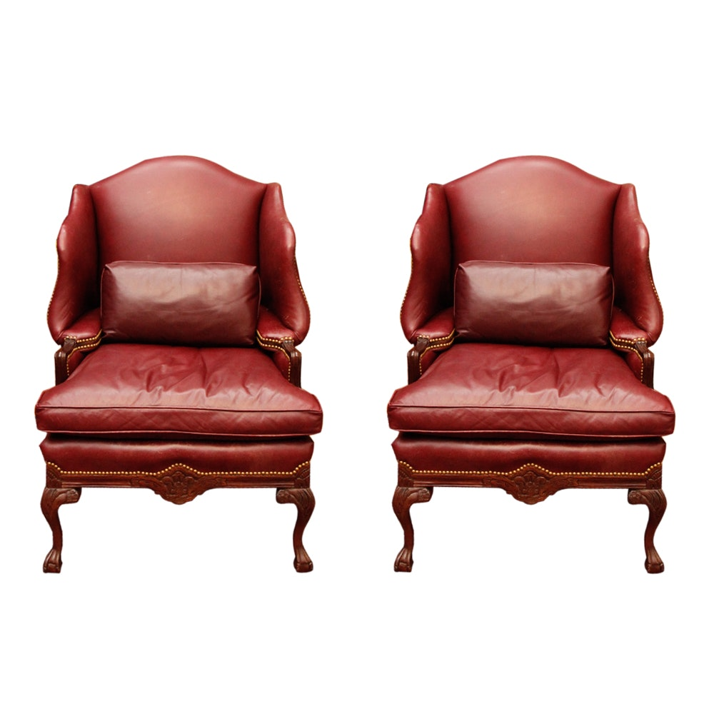 Incroyable Vintage Leather Wingback Chairs By Old Hickory Tannery ...
