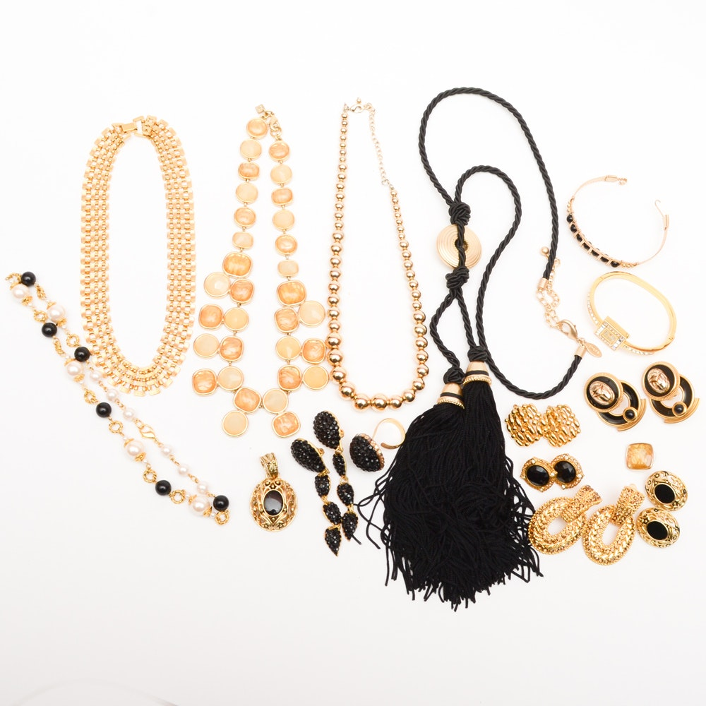 Costume Jewelry Collection Black and Gold Tone
