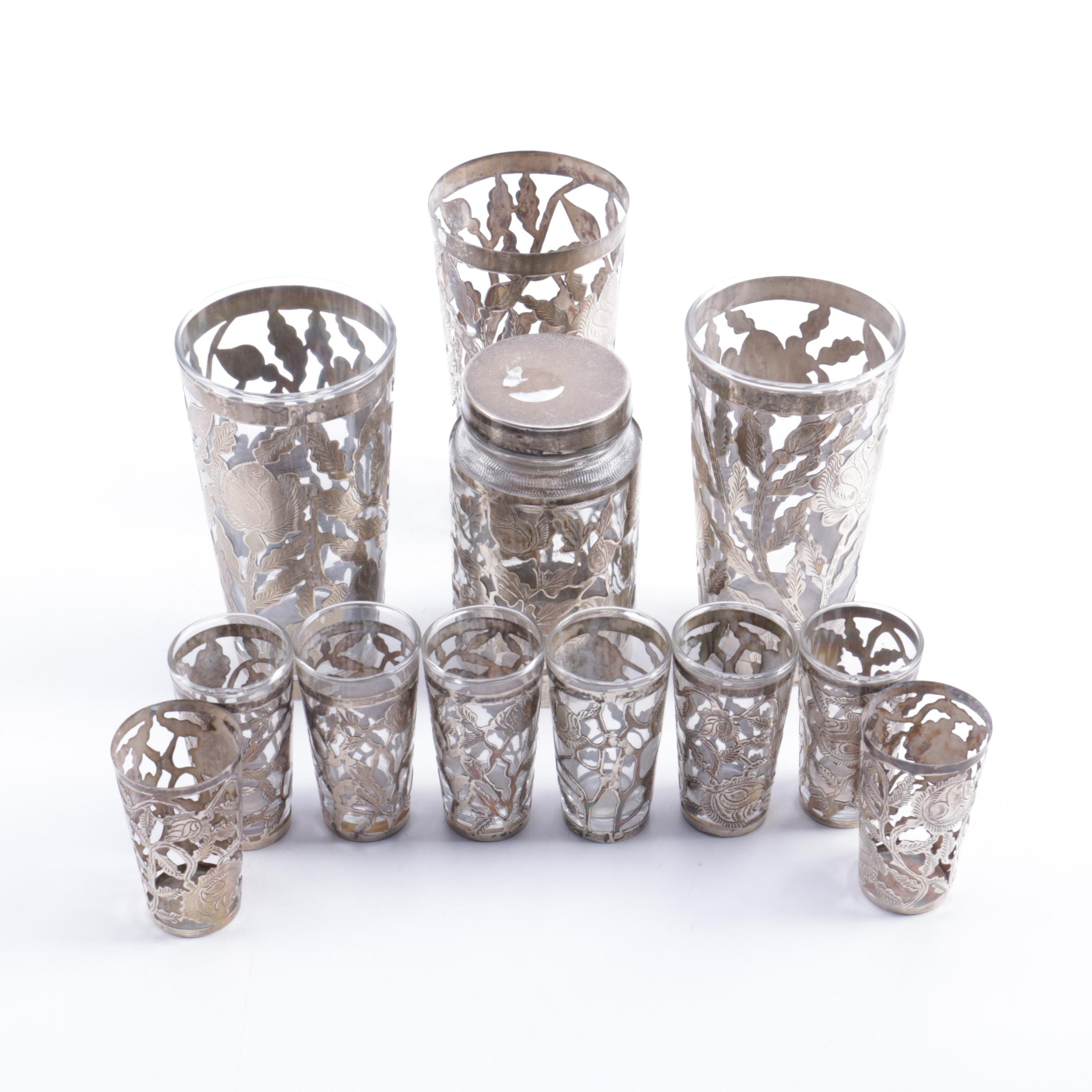 Mexican Openwork Sterling Silver Tumblers And Shot Glasses ...