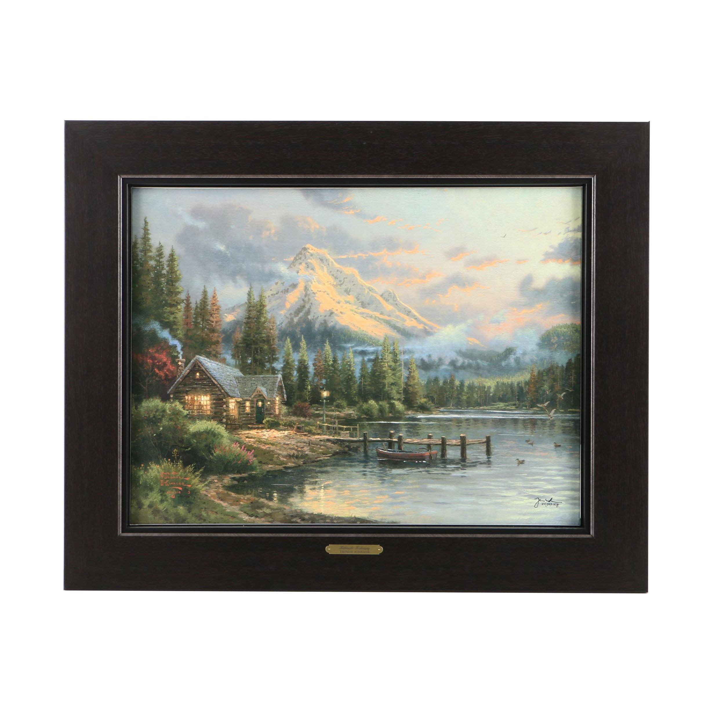 """Thomas Kinkade Limited Edition Offset Lithograph on Canvas """"Lakeside Hideaway"""""""