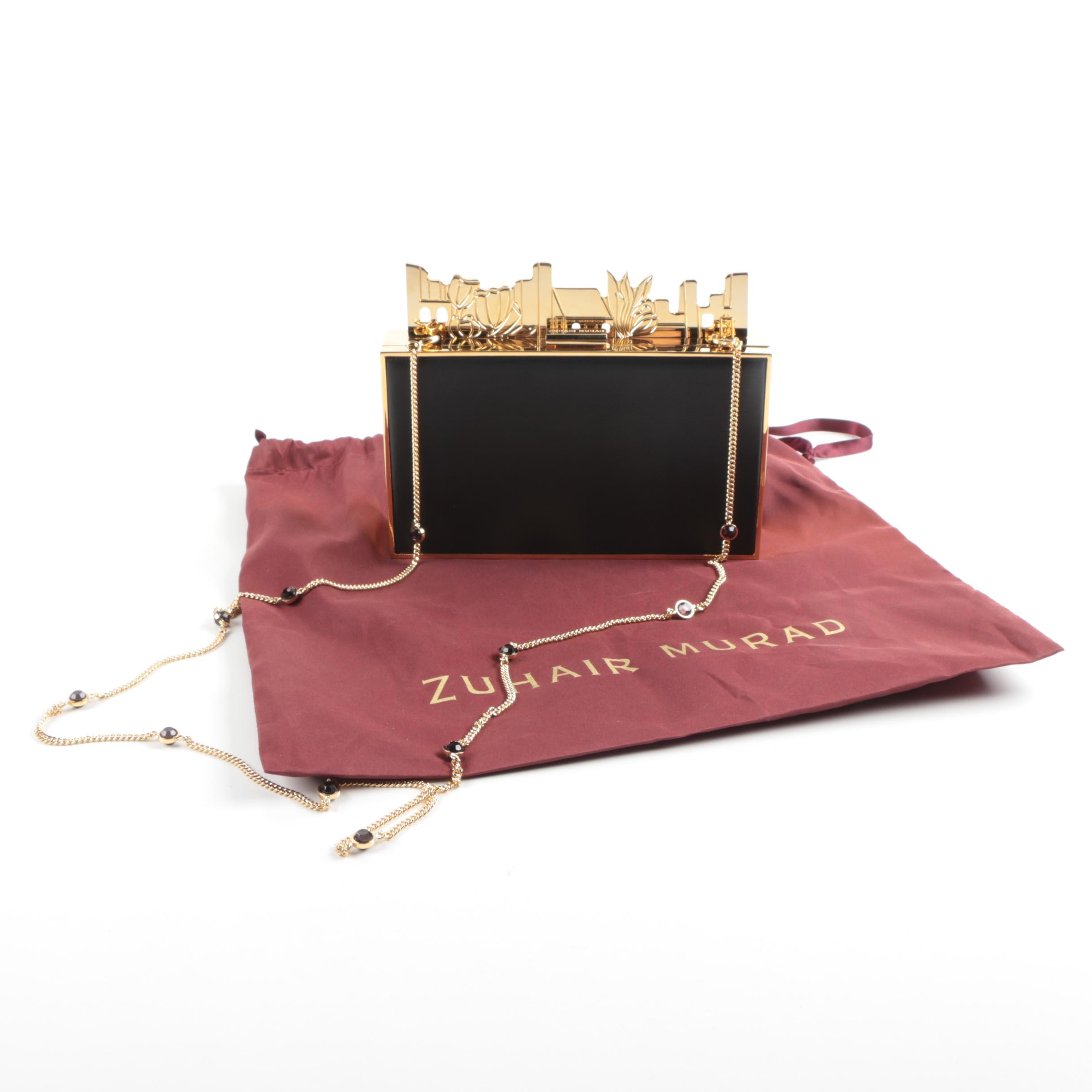 Zuhair Murad Black Leather Box Clutch with Gold Tone Accents
