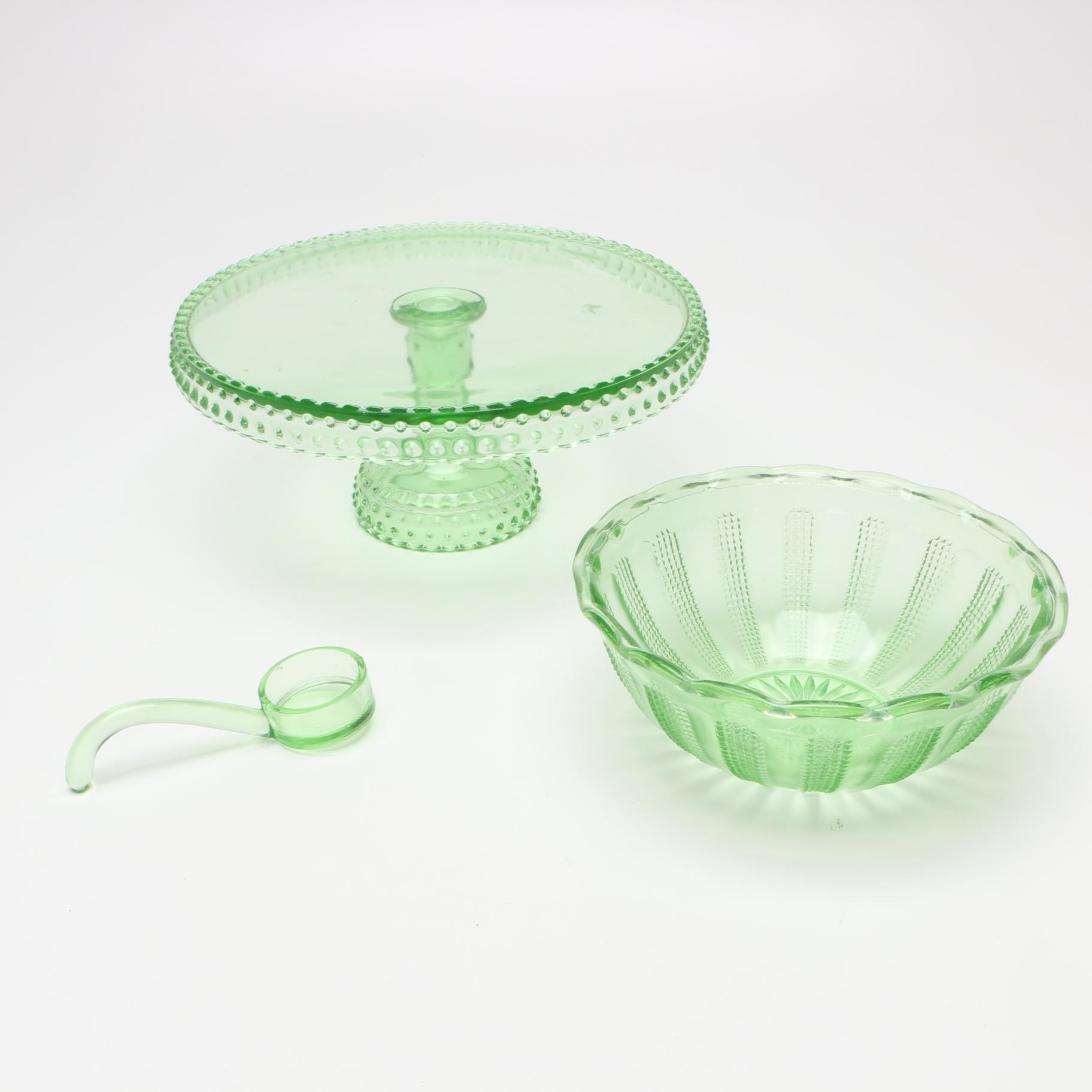 "Green Depression Glass Including L.E. Smith ""Hobnail"""
