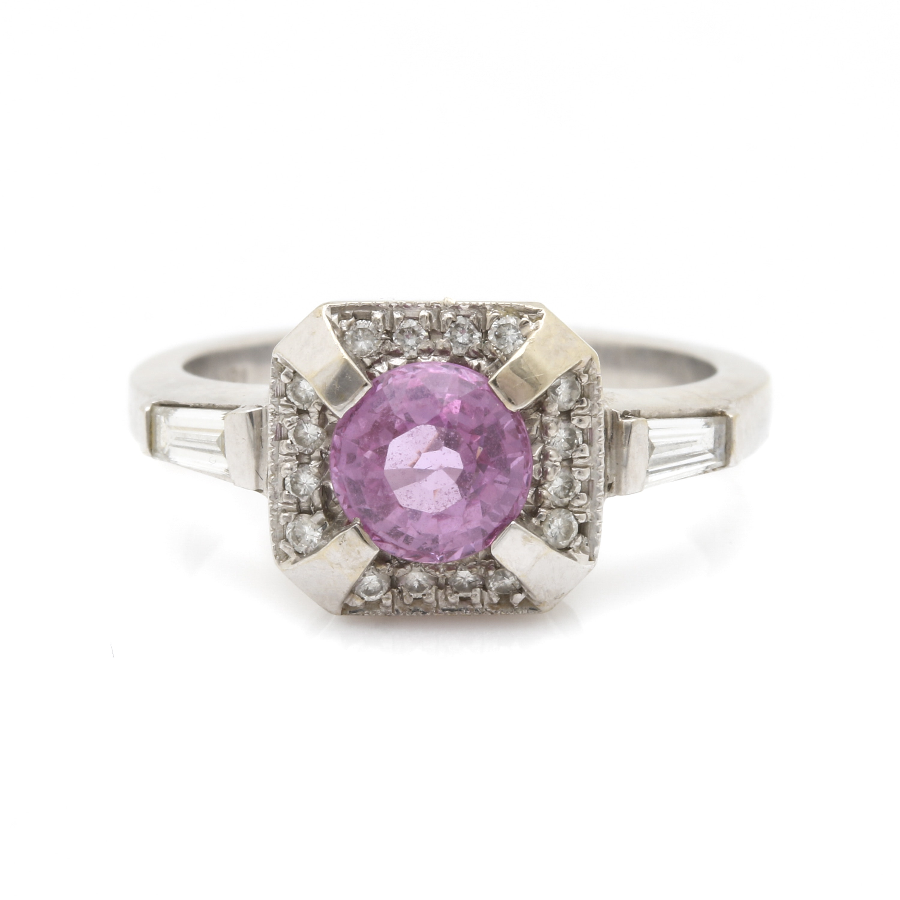 Art Deco 18K White Gold Untreated Pink Sapphire and Diamond Ring