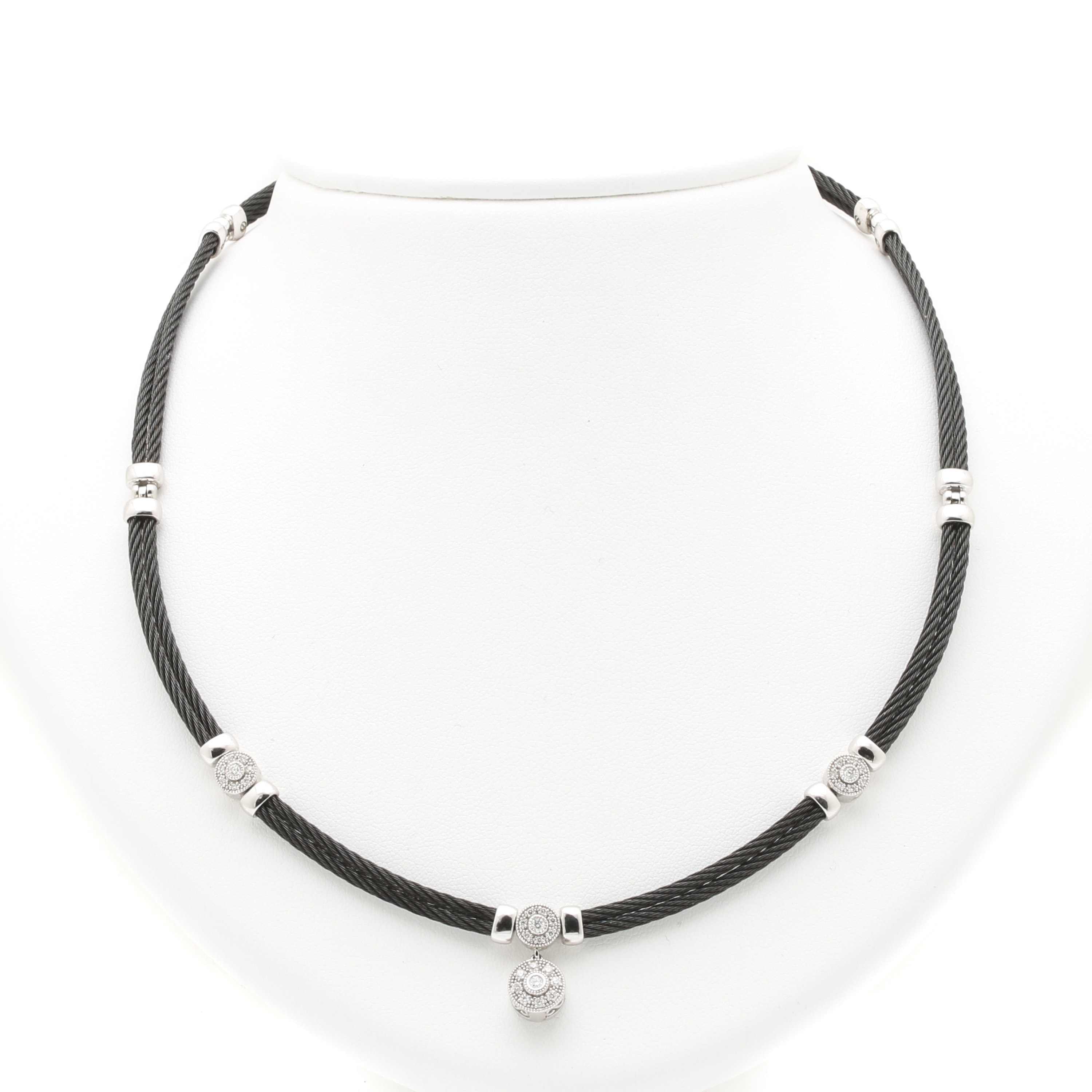 "Charriol ""Celtic Noir"" 18K White Gold and Steel Diamond Necklace"