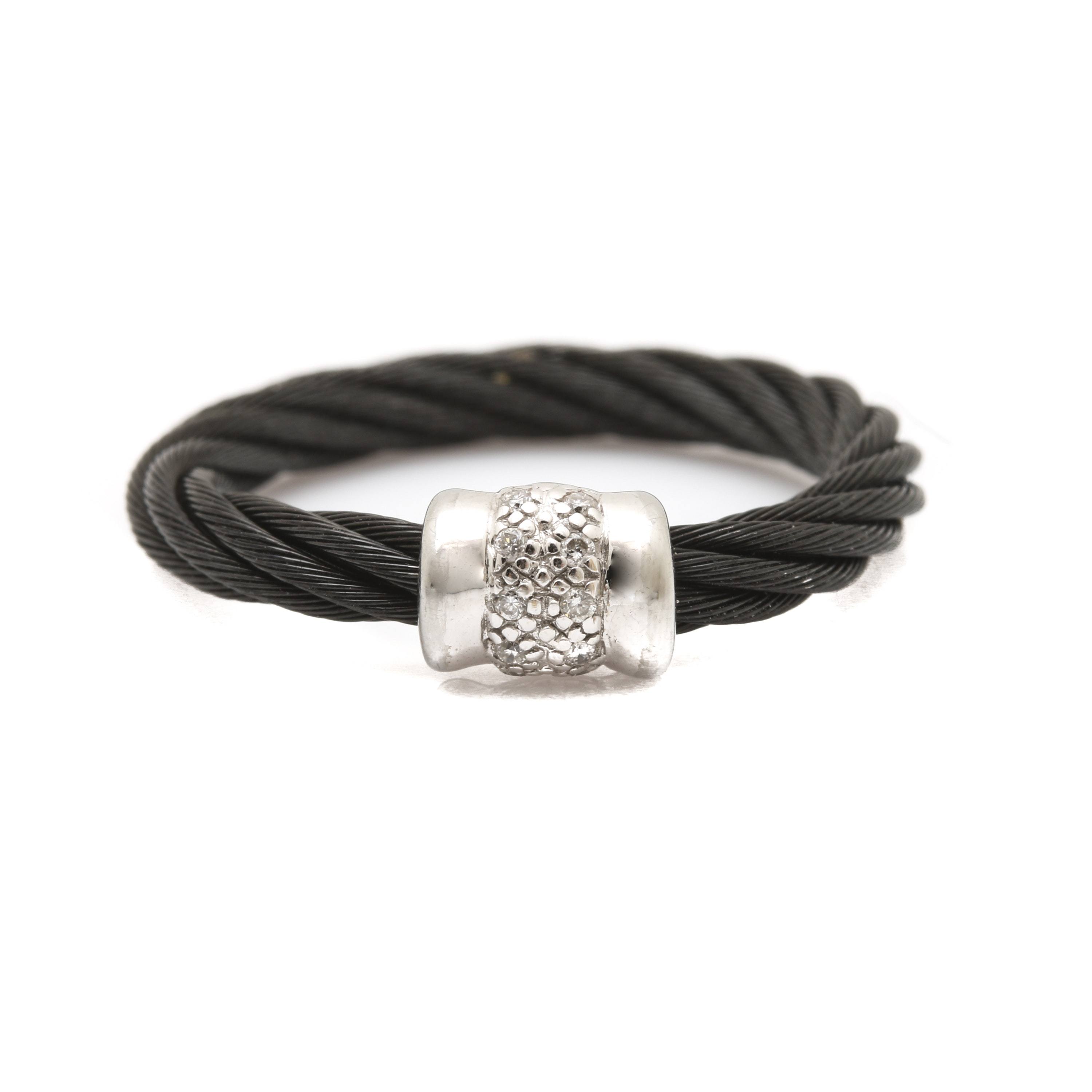 "Charriol ""Celtic Noir"" 18K White Gold and Steel Diamond Ring"