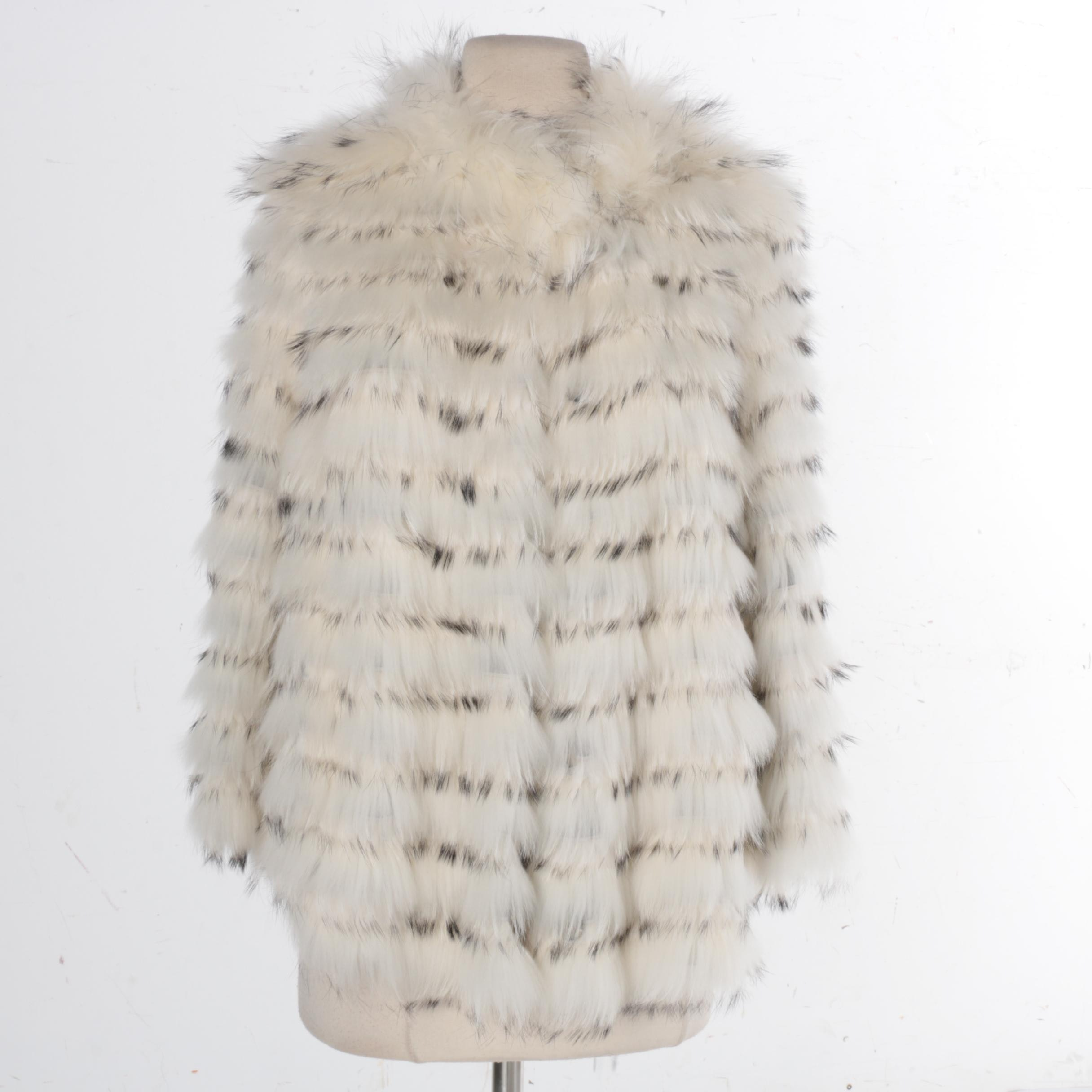 Yves Salomon Black-Tipped White Rabbit Fur Coat