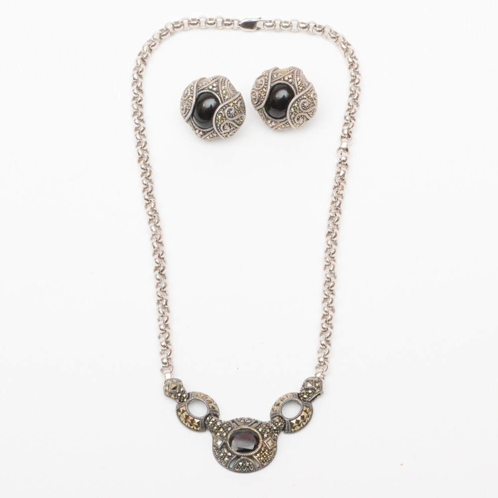 Judith Jack Sterling Necklace and Earrings Collection