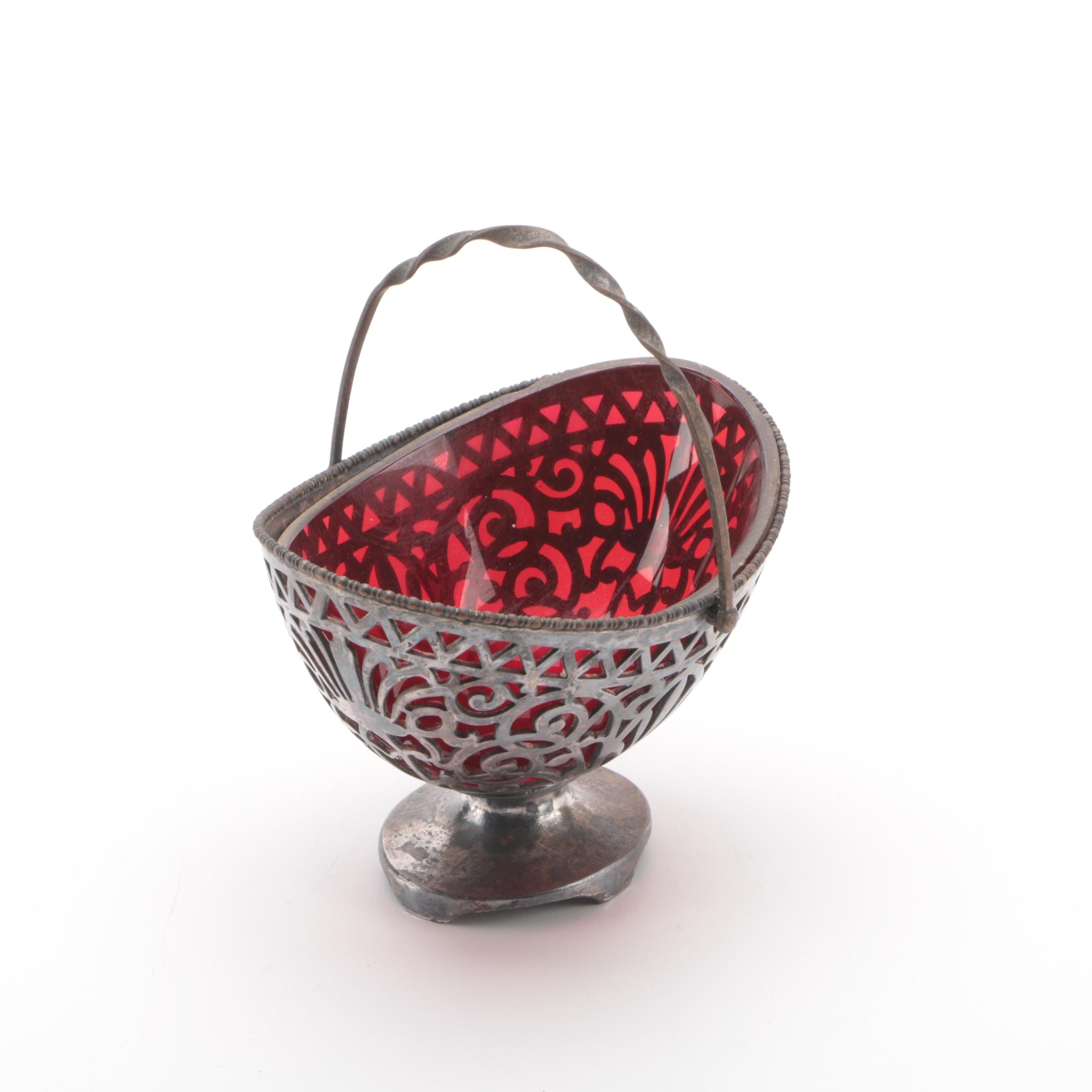 Vintage Pairpoint Silver Plate Basket with Red Glass Insert