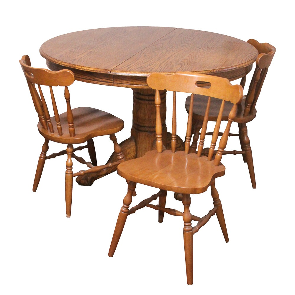 Vintage Farmhouse Style Oak Pedestal Table with Chairs