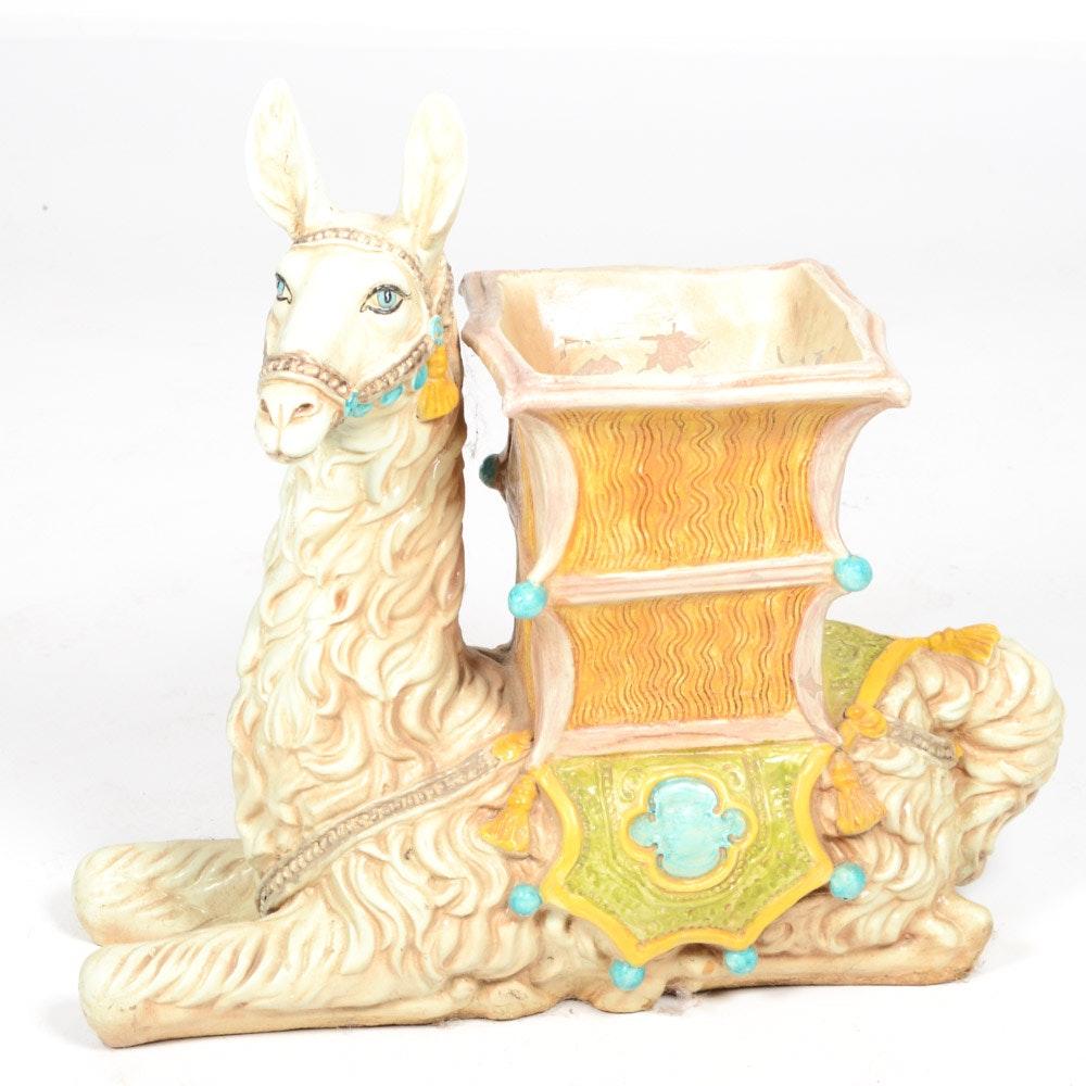 Cast Resin Llama Planter