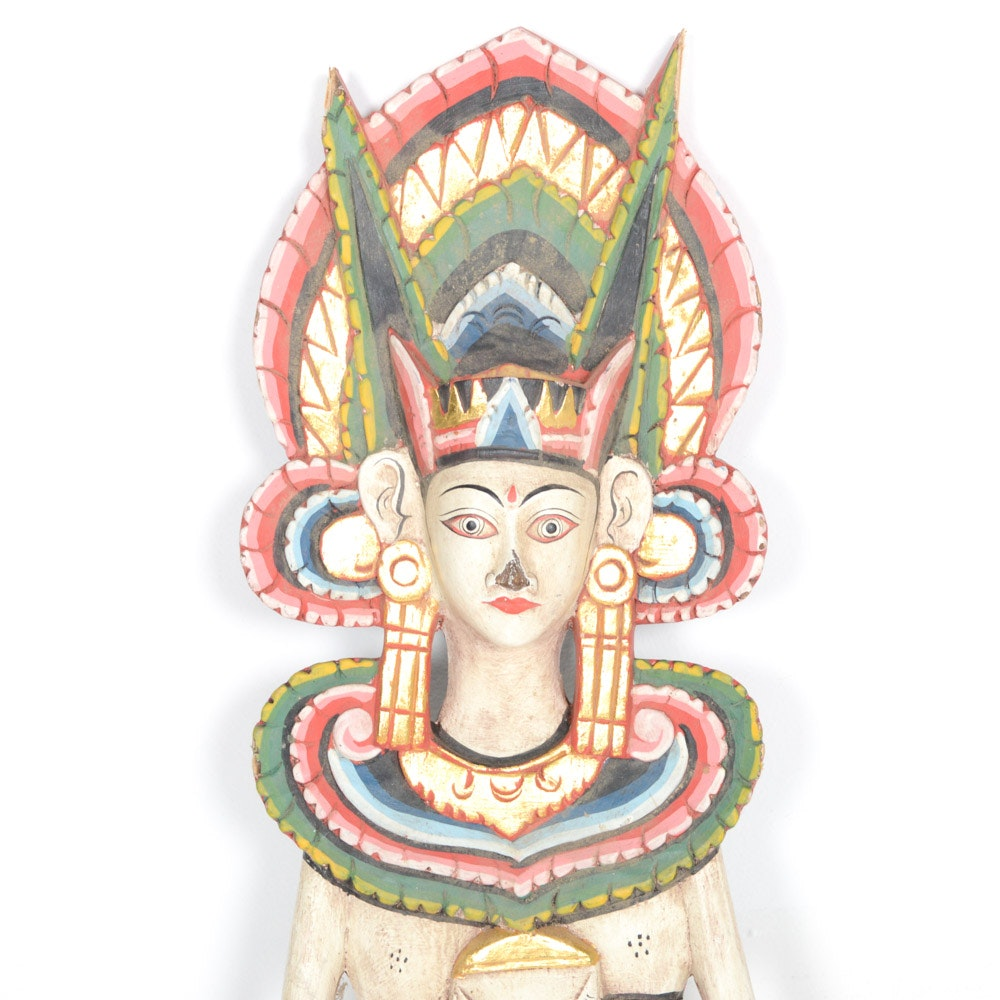 Hand-Carved and Painted Hindu Deity Sita