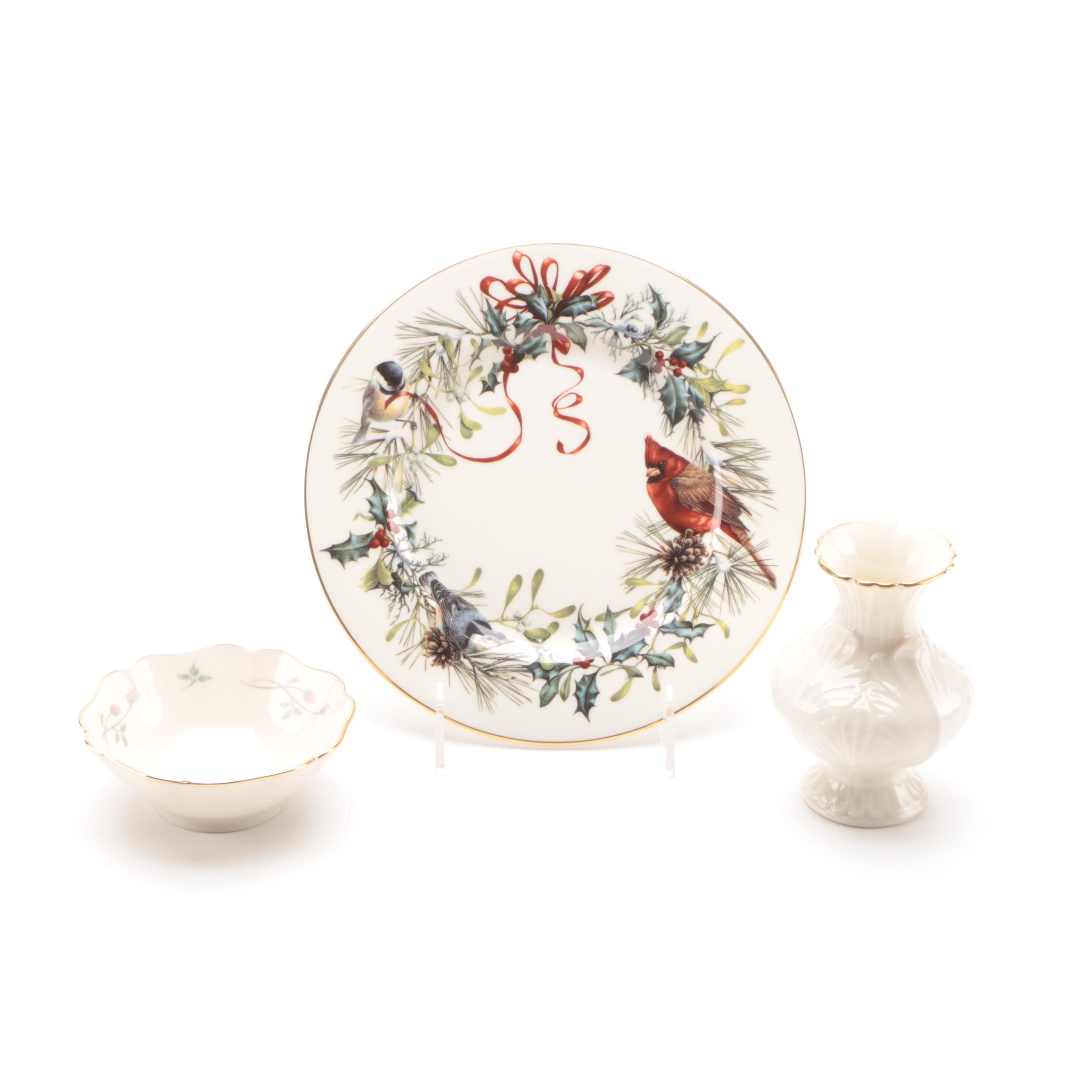 "Lenox Porcelain ""Winter Greetings"" Plate, ""Rose Manor"" Bowl and Acanthus Vase"