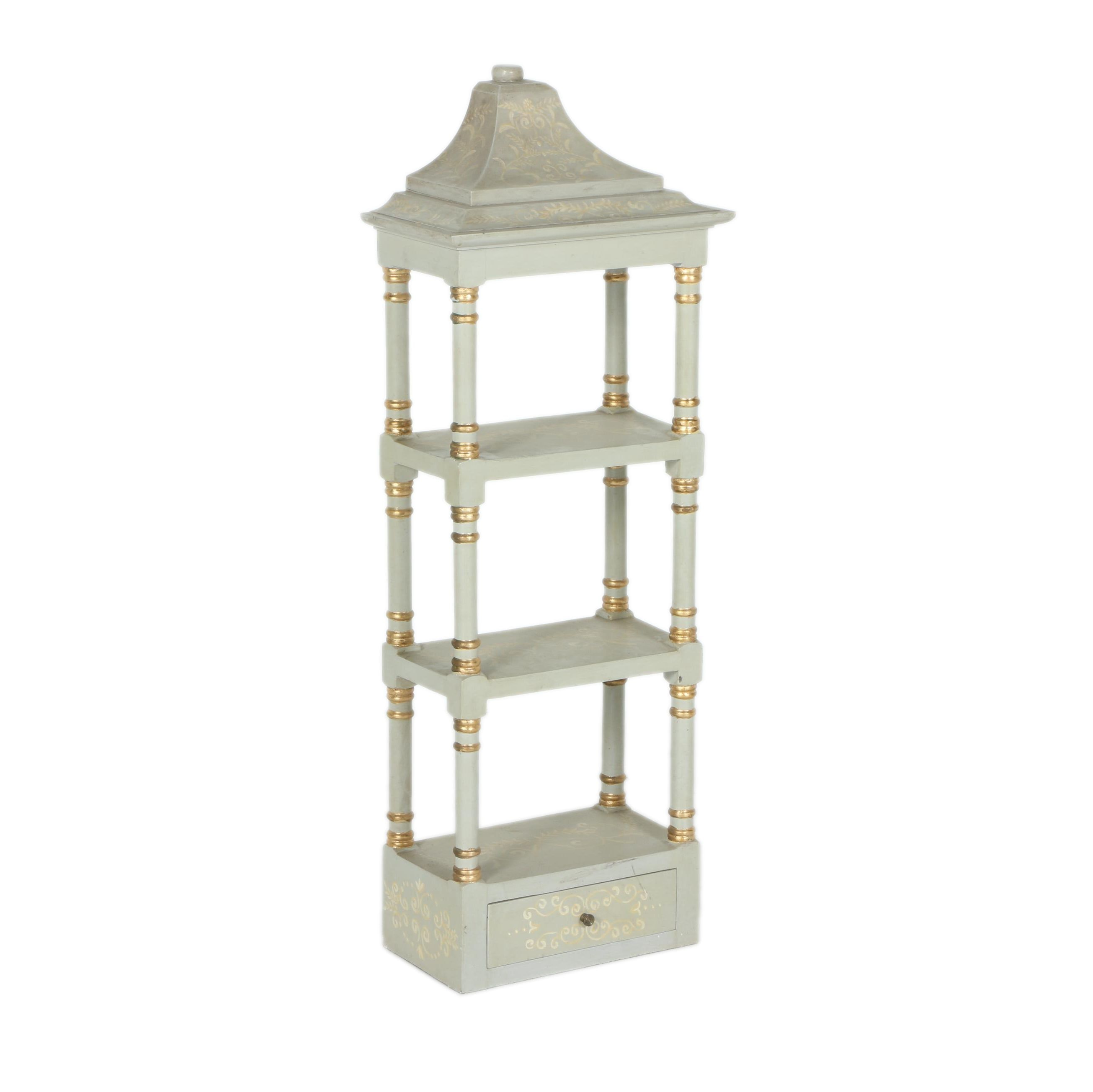 Gilded and White Wooden Wall Shelf Unit