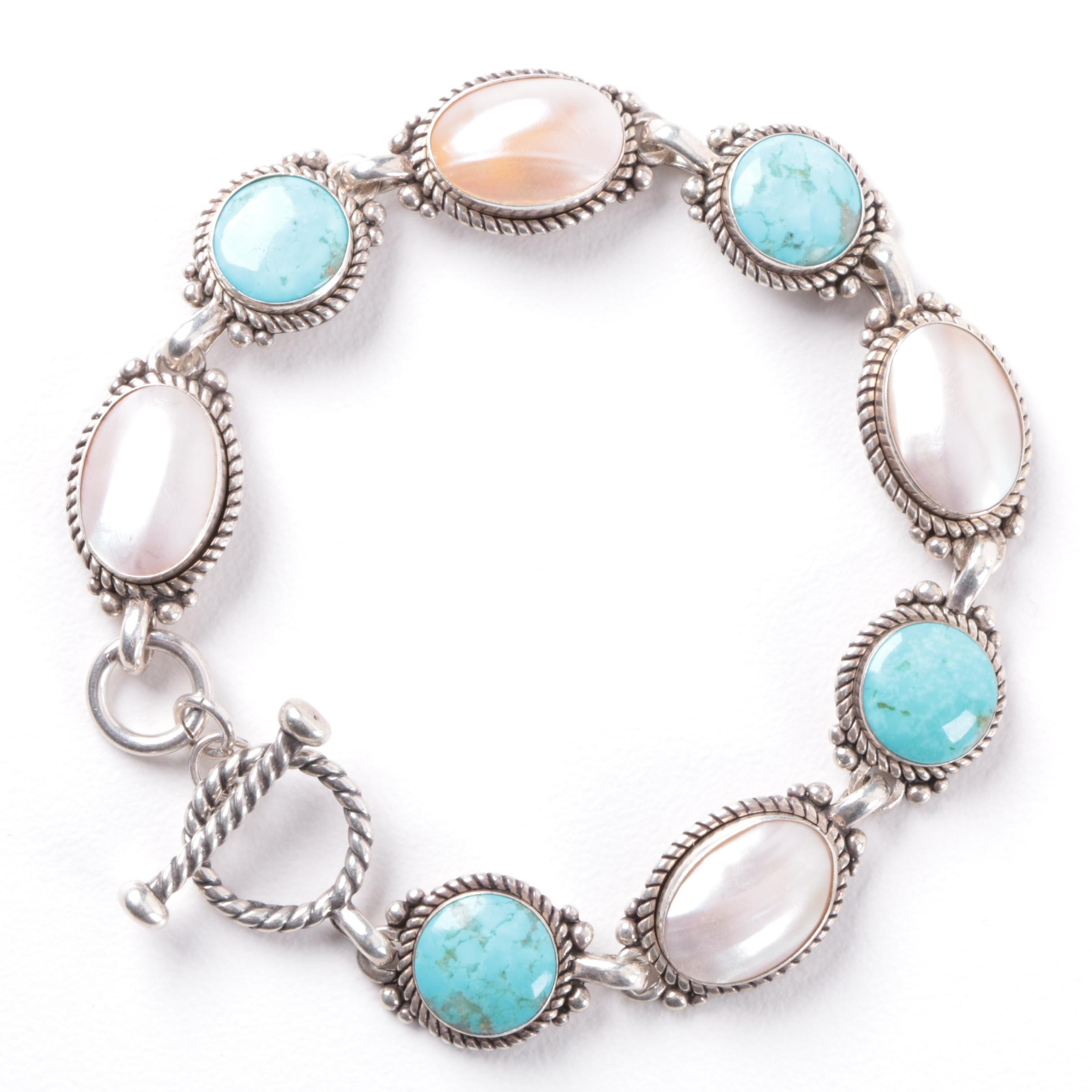 Carolyn Pollack Sterling Silver Bracelet with Shell Accents