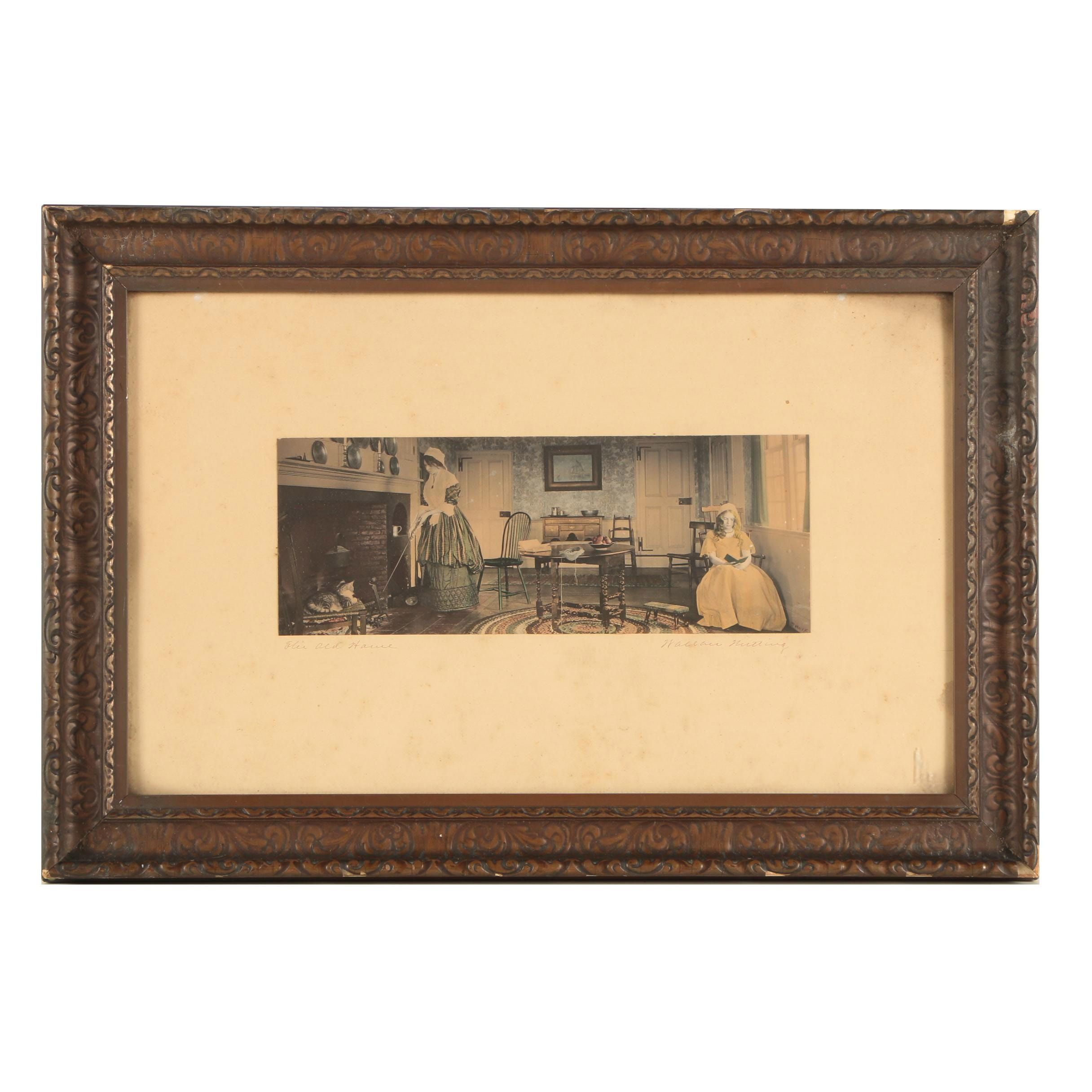 "Wallace Nutting Hand-Tinted Photographic Print on Paper ""Her Old House"""