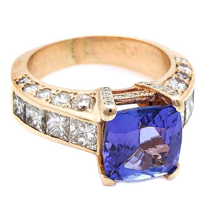 14K Yellow Gold 2.76 CT Tanzanite and 4.28 CTW Diamond Ring