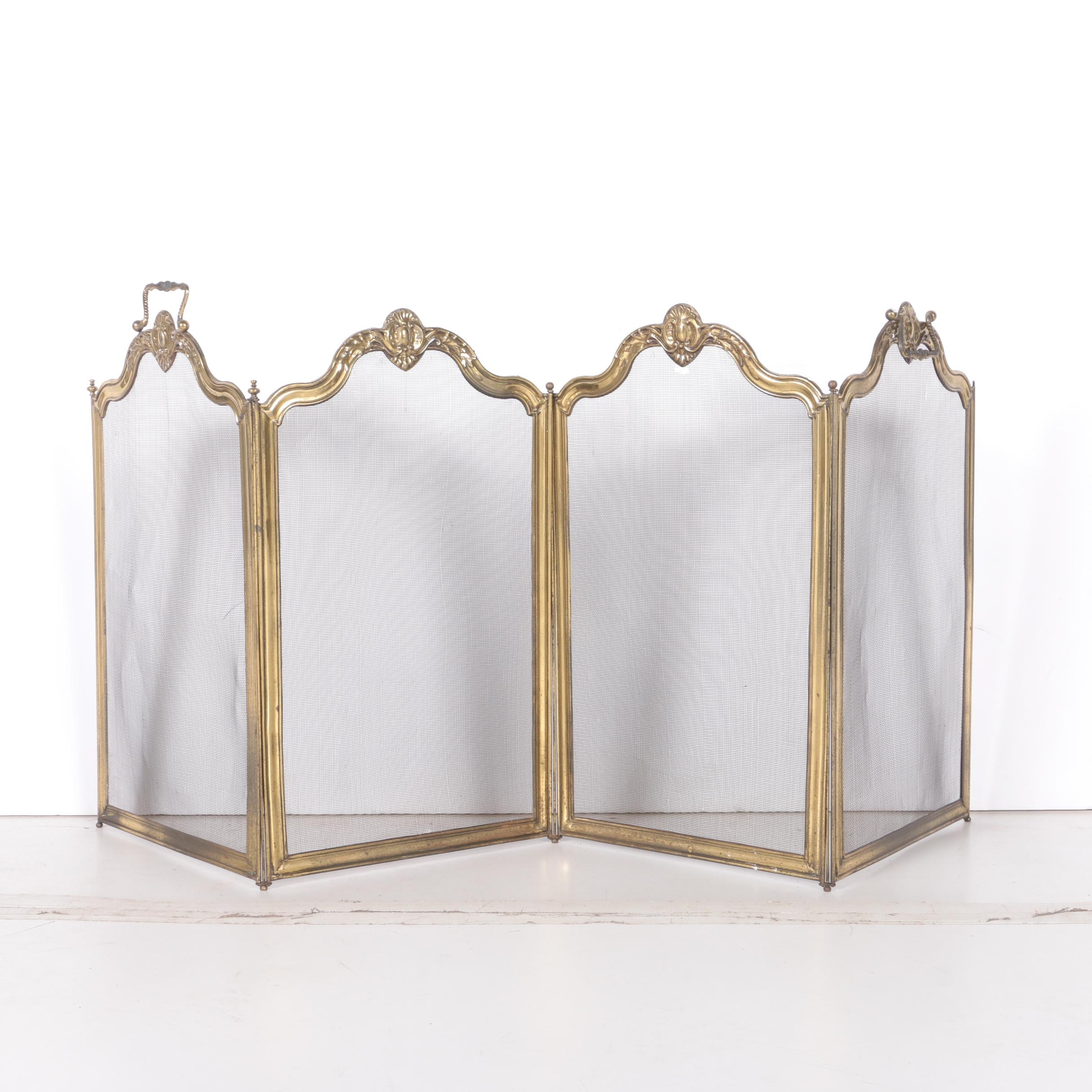 Folding Brass Fireplace Screen