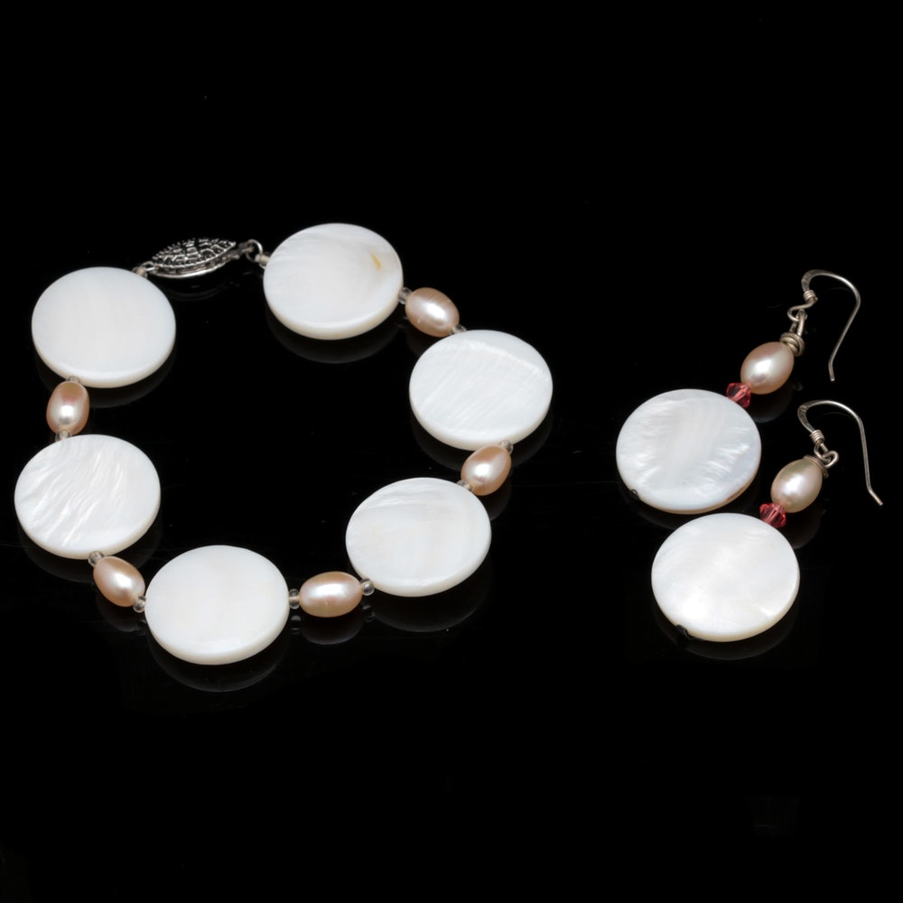 Sterling Silver Mother of Pearl and Cultured Pearl Bracelet and Earring Ensemble