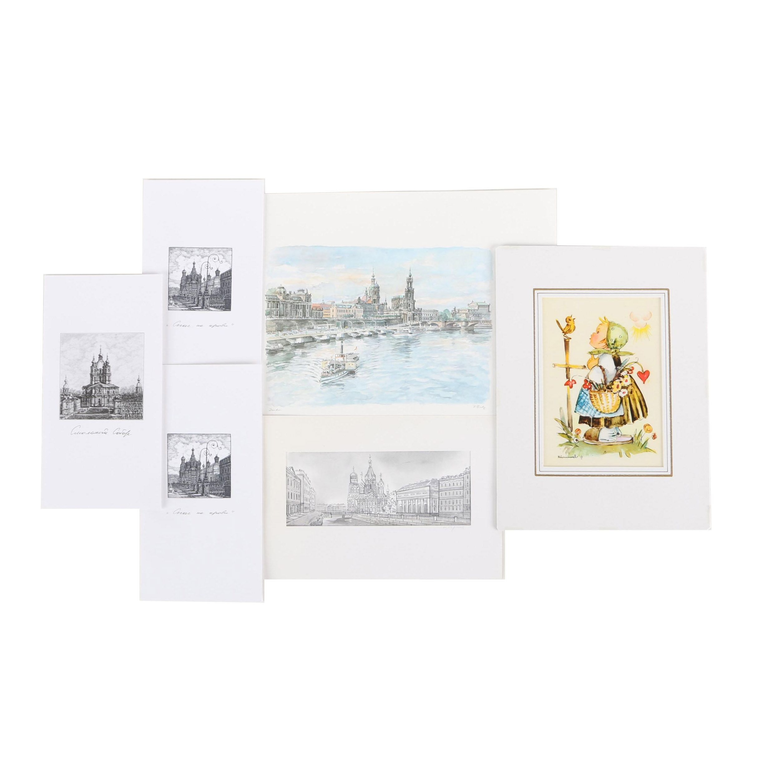 Offset Lithograph Landscapes with Offset Lithograph of Hummel Figure