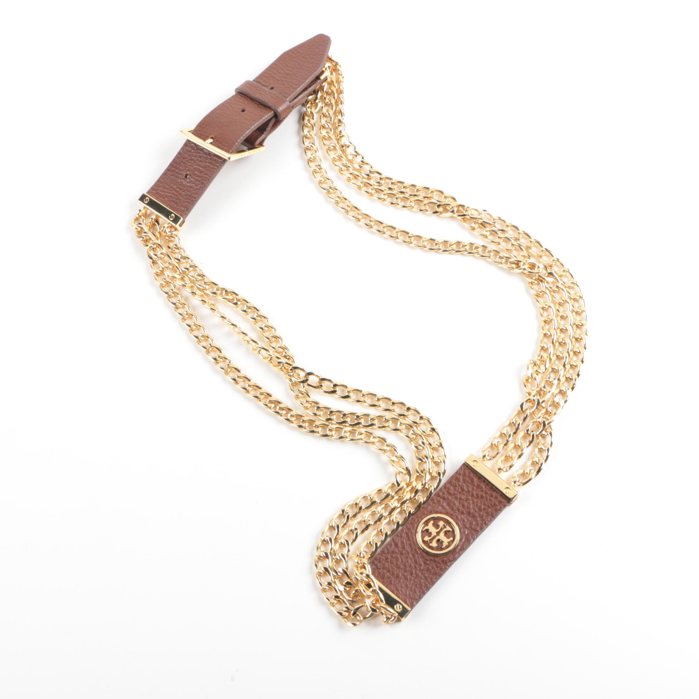 Tory Burch Brown Leather and Gold Tone Chain Belt