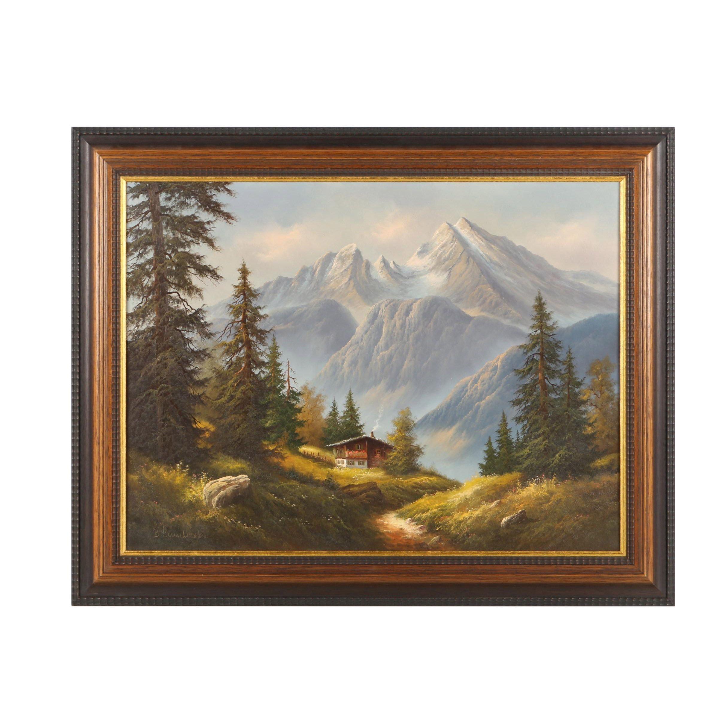 B. Landrock Oil Painting on Canvas of Landscape