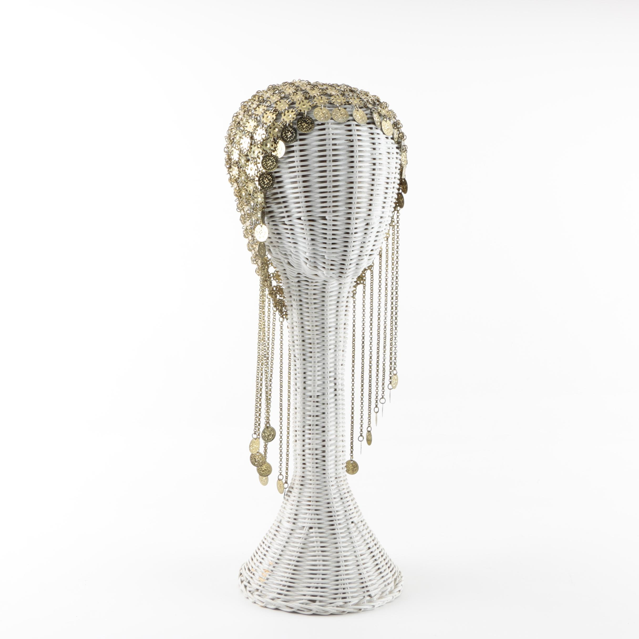 Gold Tone Coin Mesh Headdress