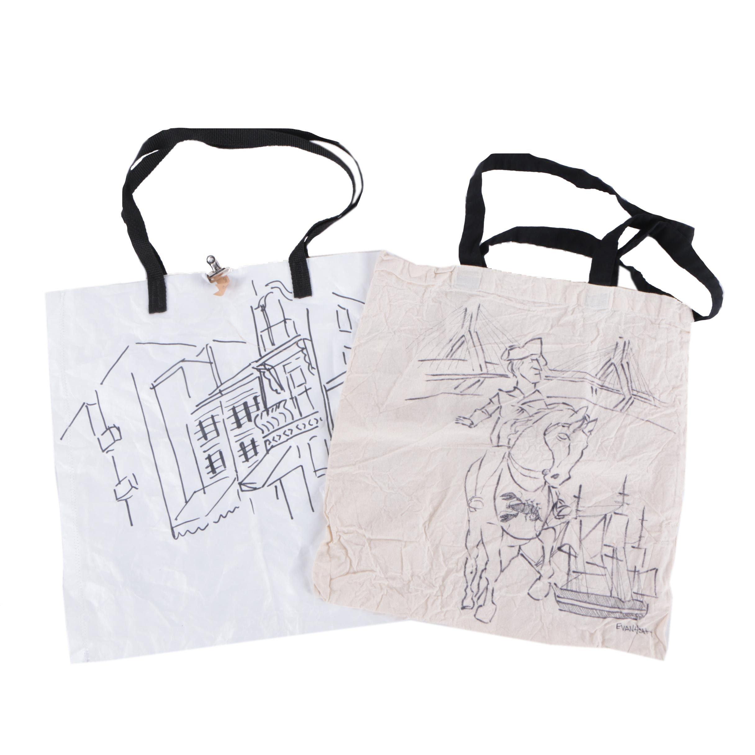Evan Forsch Ink Drawings on Tote Bags