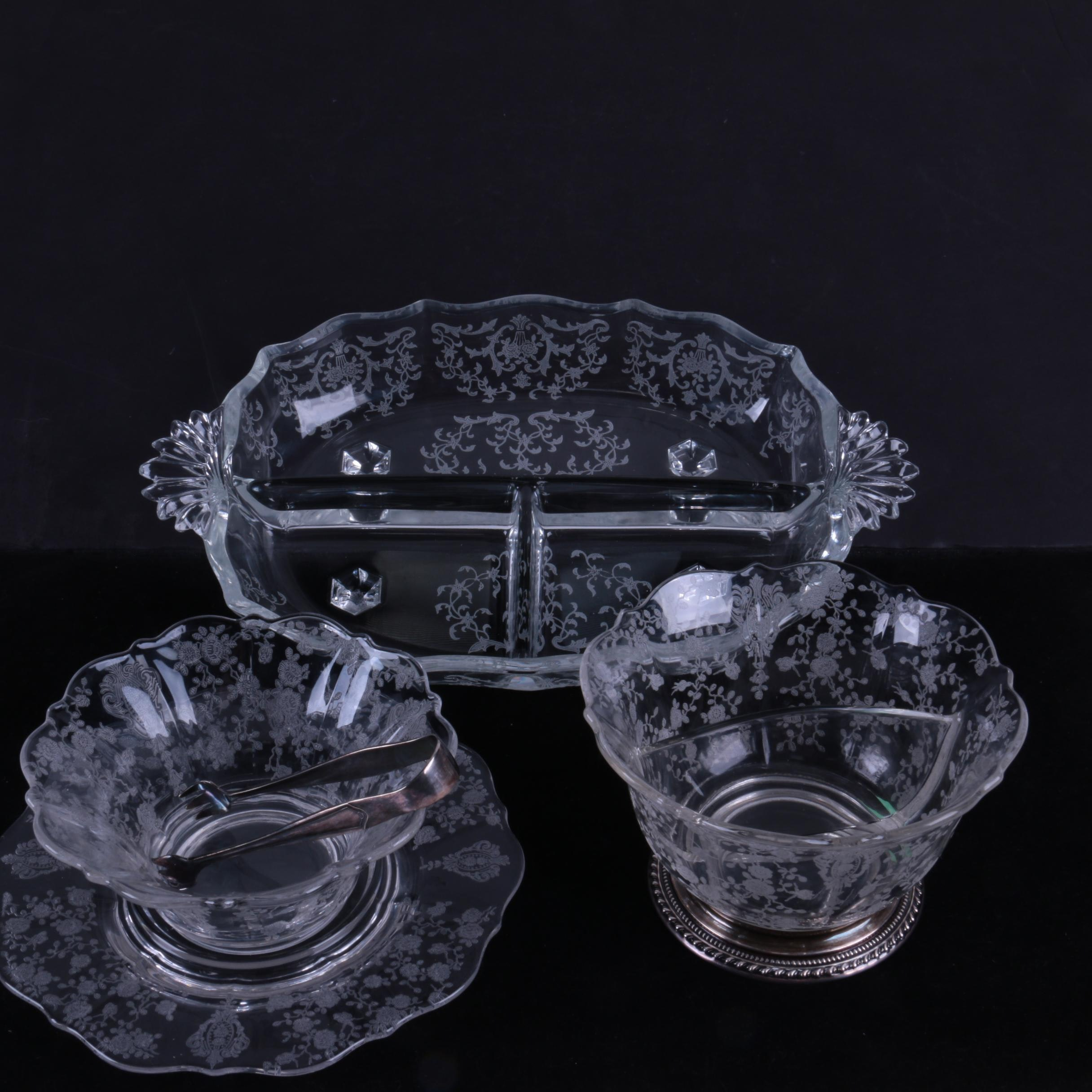 Fostoria Etched Glass Tableware with Wallace Sterling Pedestal Base